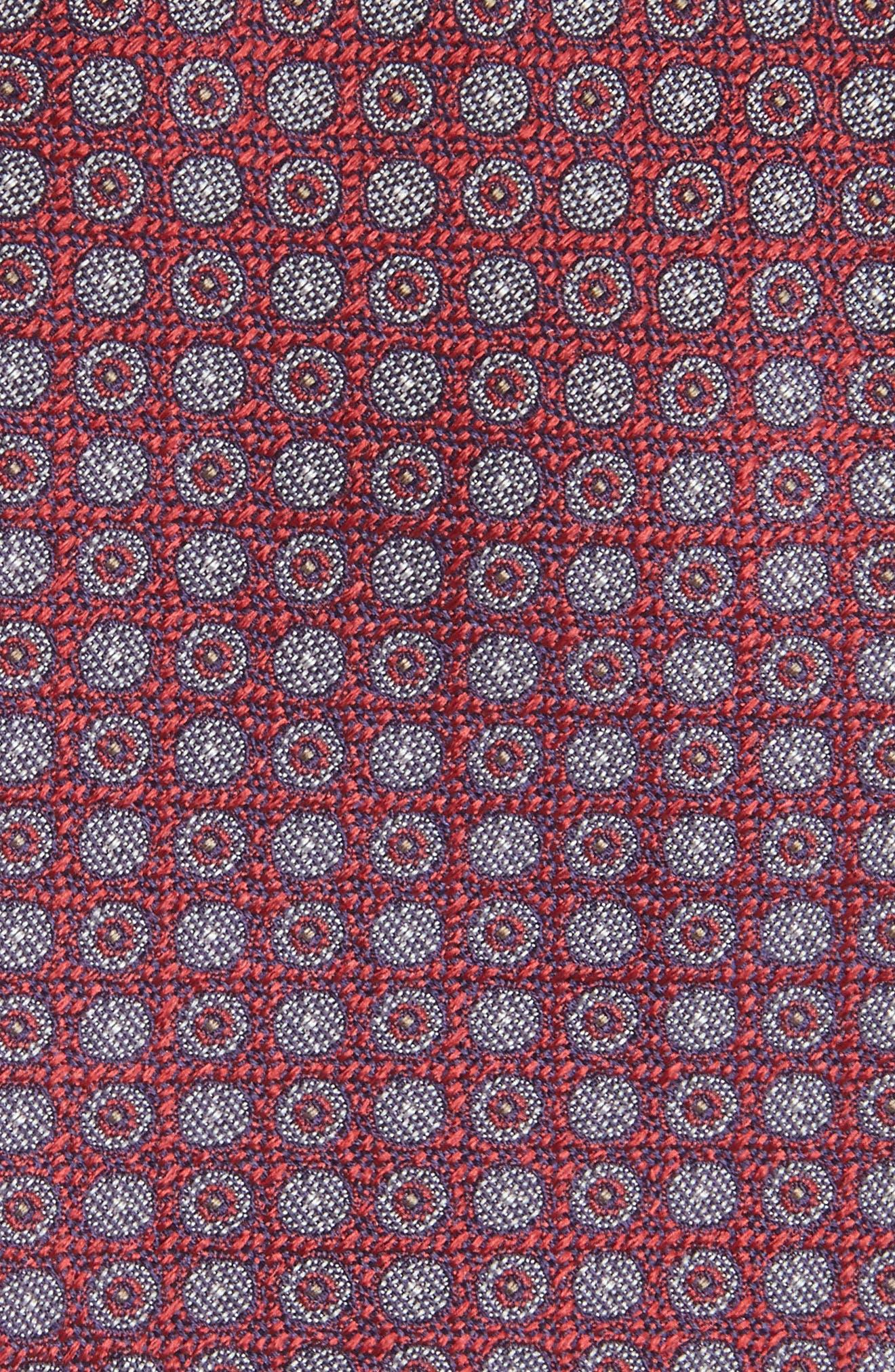 Geometric Silk Tie,                             Alternate thumbnail 2, color,                             Cranberry
