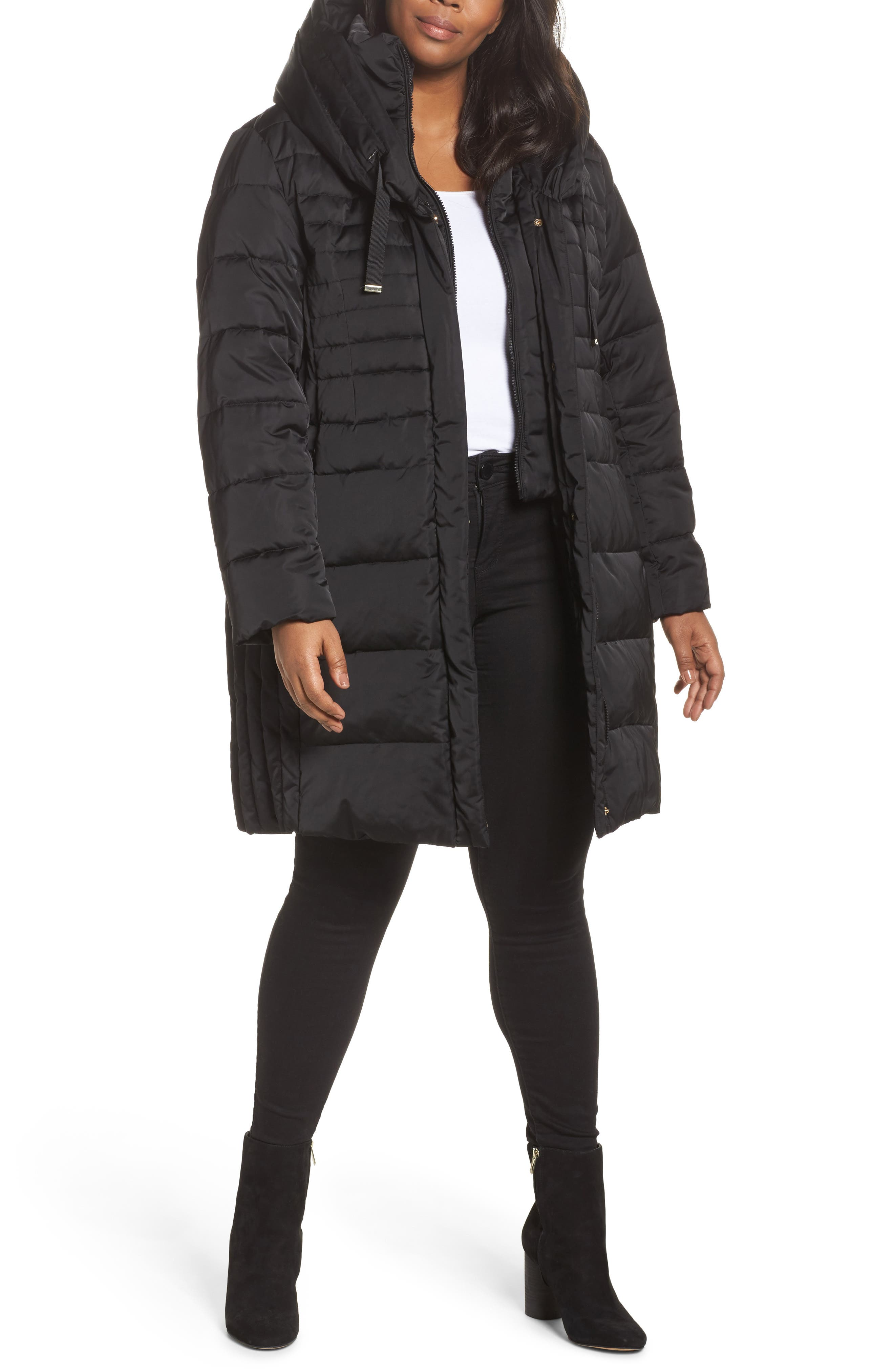 Tahari Mia Down & Feather Fill Coat (Plus Size)
