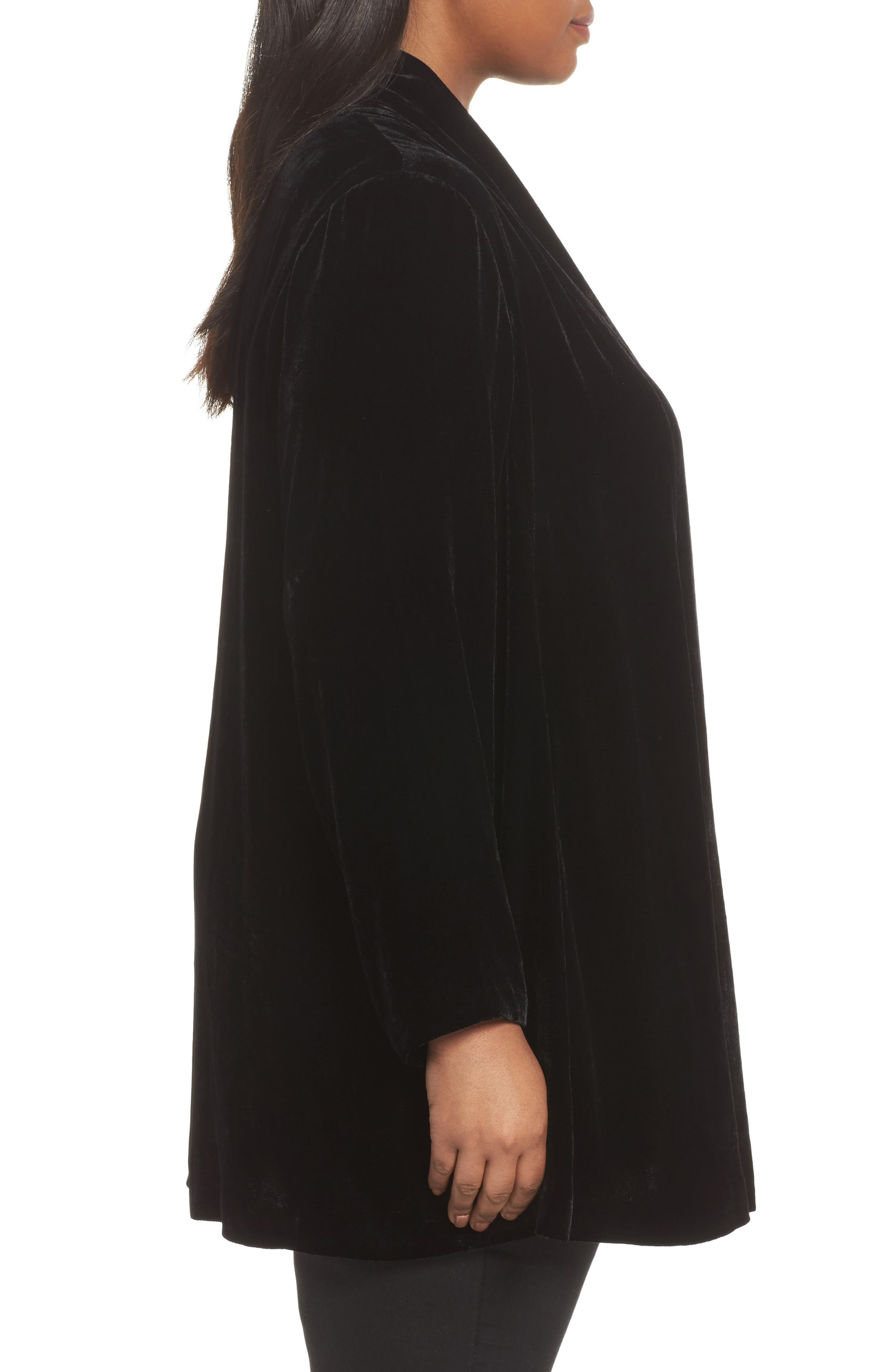Alternate Image 3  - Eileen Fisher Shawl Collar Velvet Jacket (Plus Size)
