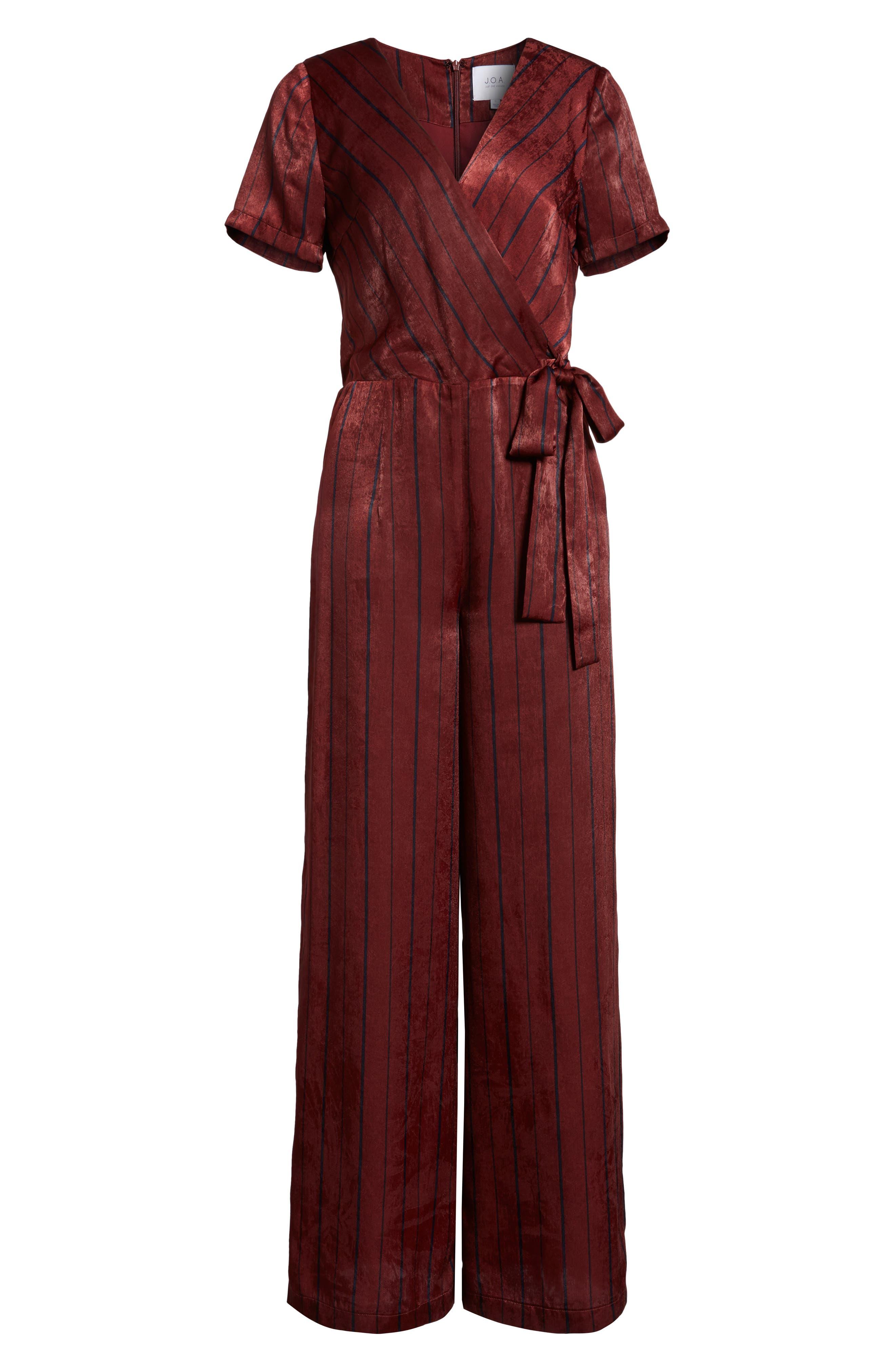Stripe Jumpsuit,                             Alternate thumbnail 6, color,                             Wine Multi