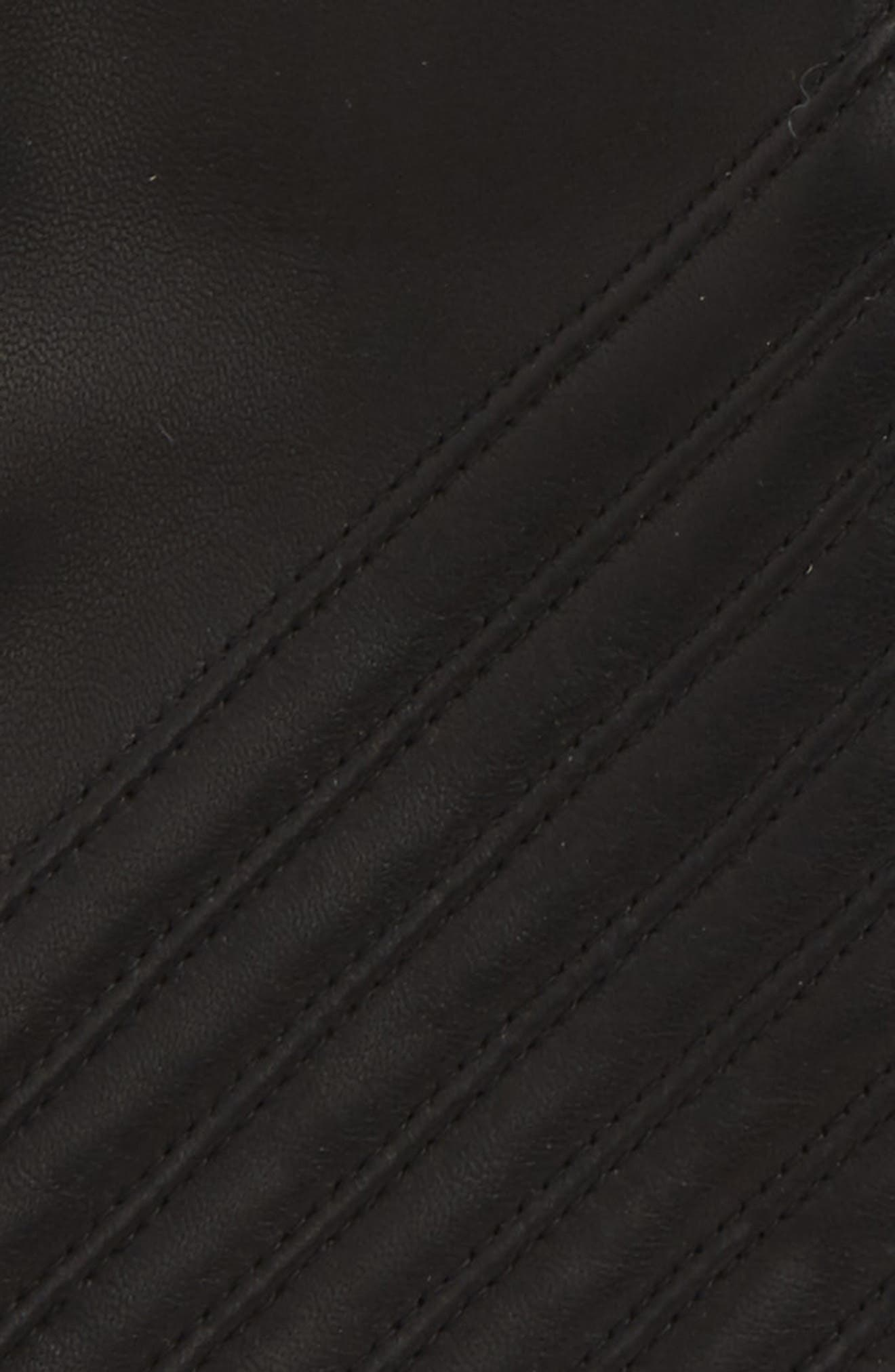 Slant Leather Gloves,                             Alternate thumbnail 2, color,                             Black