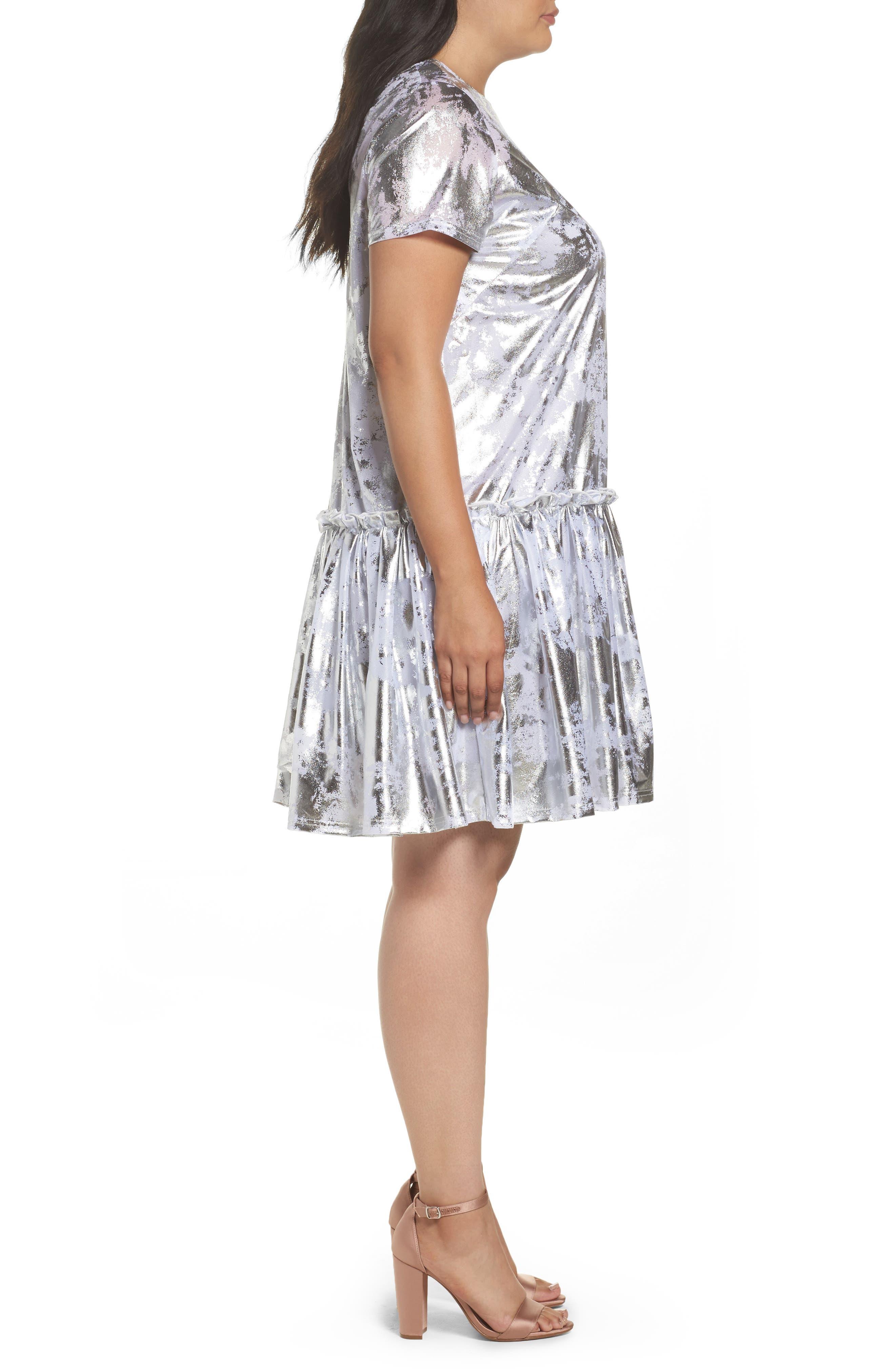 Metallic Swing Dress,                             Alternate thumbnail 4, color,                             Silver