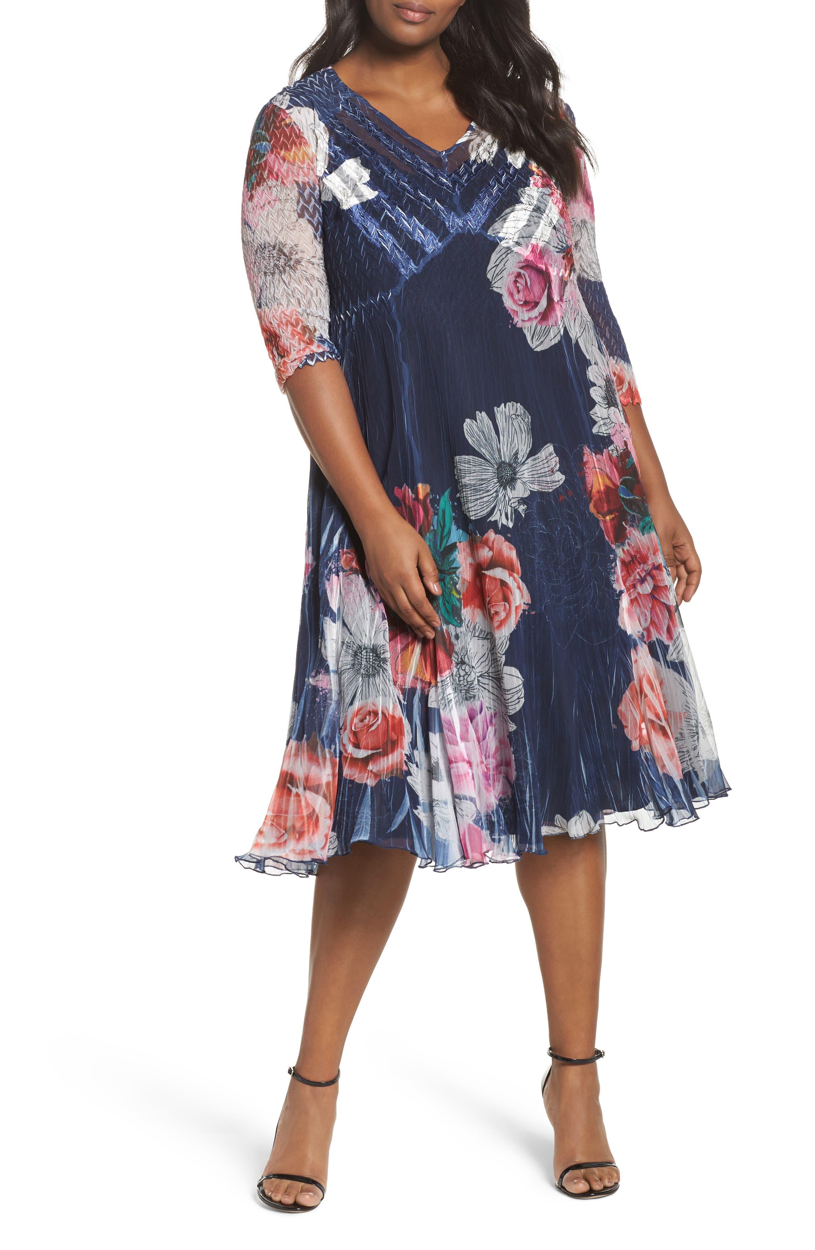 Komarov V-Neck Floral Print Chiffon Dress (Plus Size)