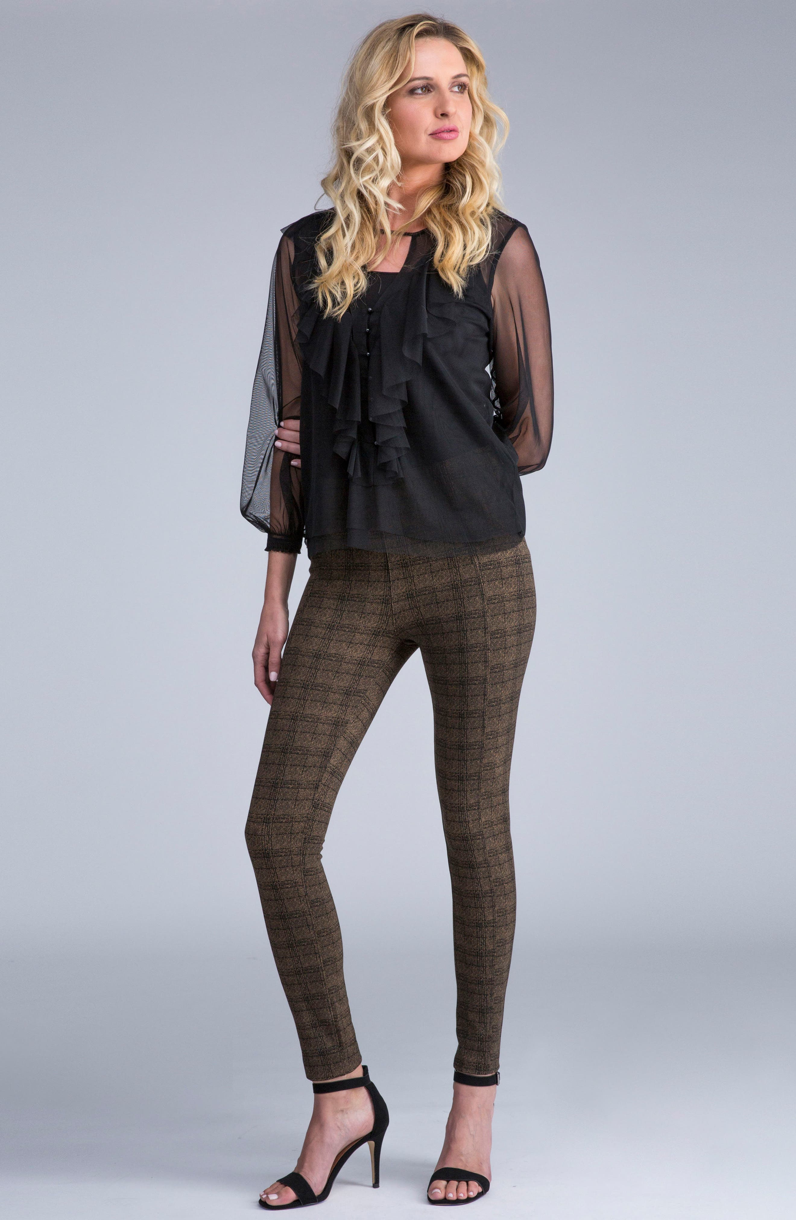 Reese Ankle Leggings,                             Alternate thumbnail 2, color,                             Dark Shitake Textured Plaid