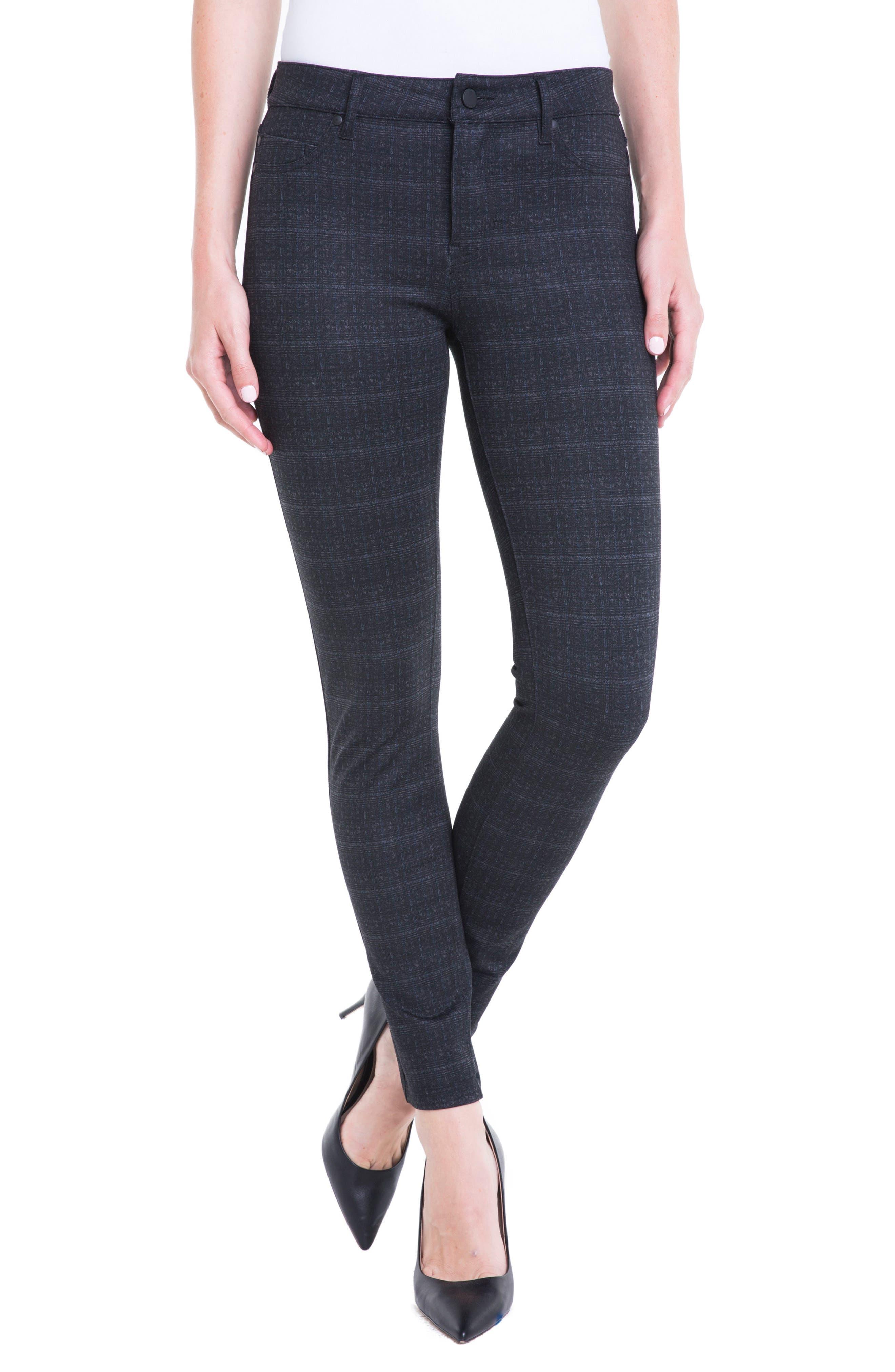 Plaid Super Skinny Ponte Knit Pants,                         Main,                         color, Charcoal Shadow Plaid