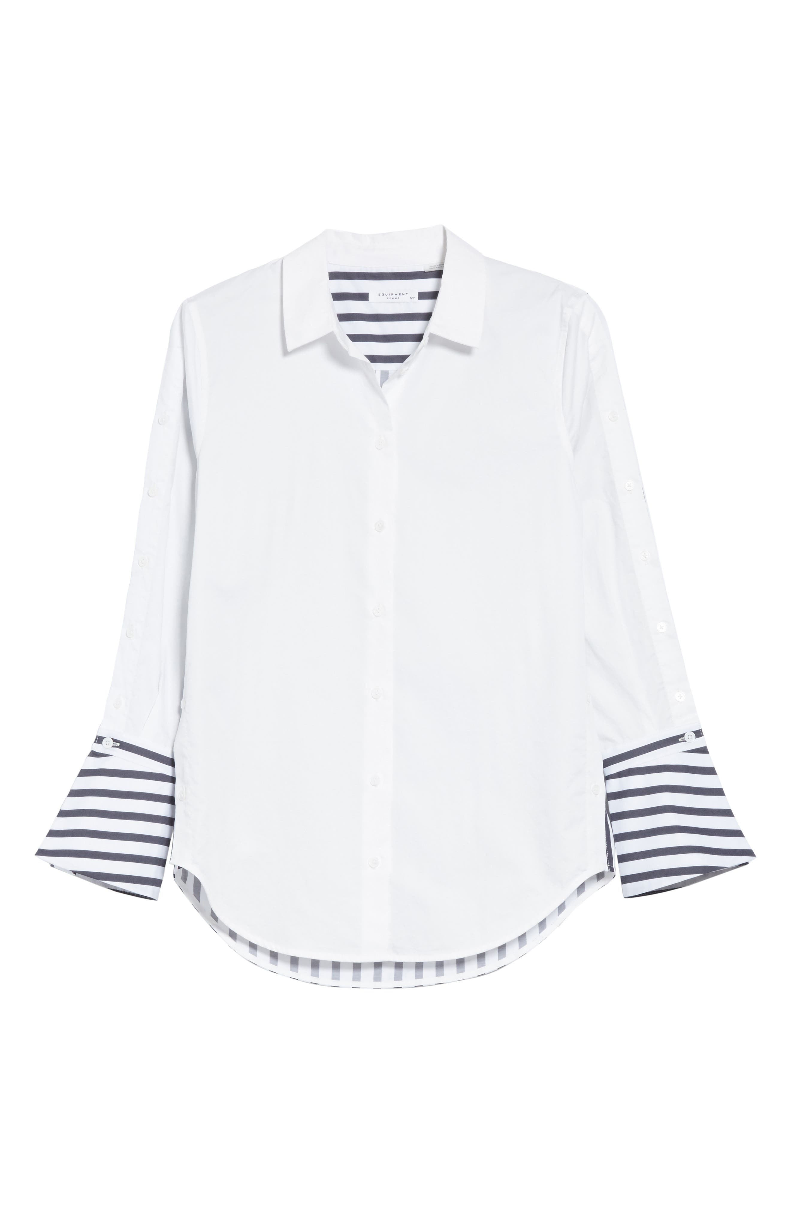 Rossi Contrast Stripe Button Down Shirt,                             Alternate thumbnail 6, color,                             Bright White/ Eclipse