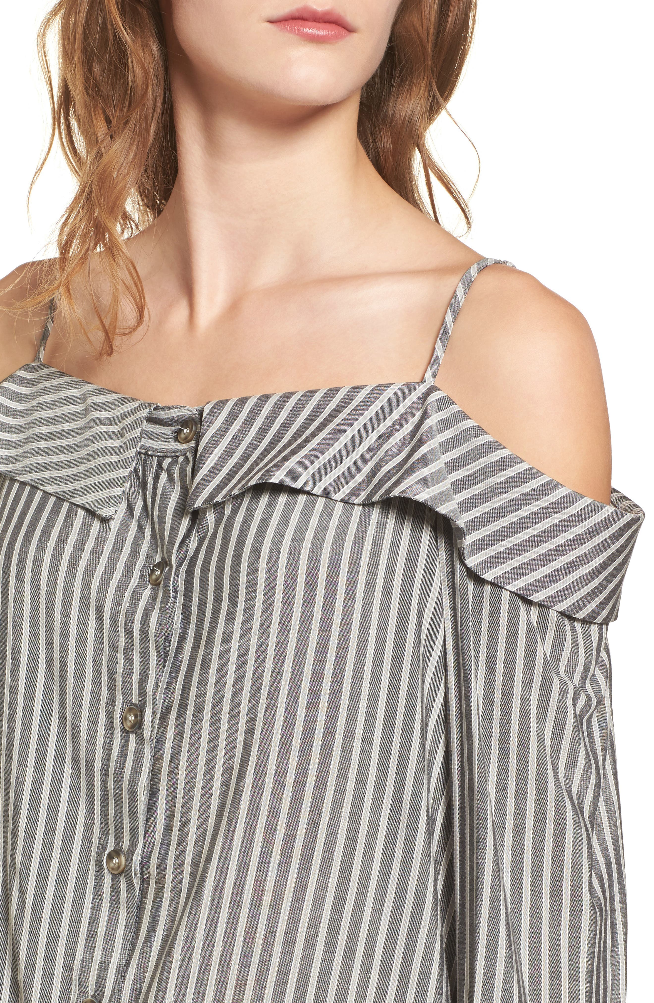 Flare Cuff Cold Shoulder Top,                             Alternate thumbnail 4, color,                             Stripe