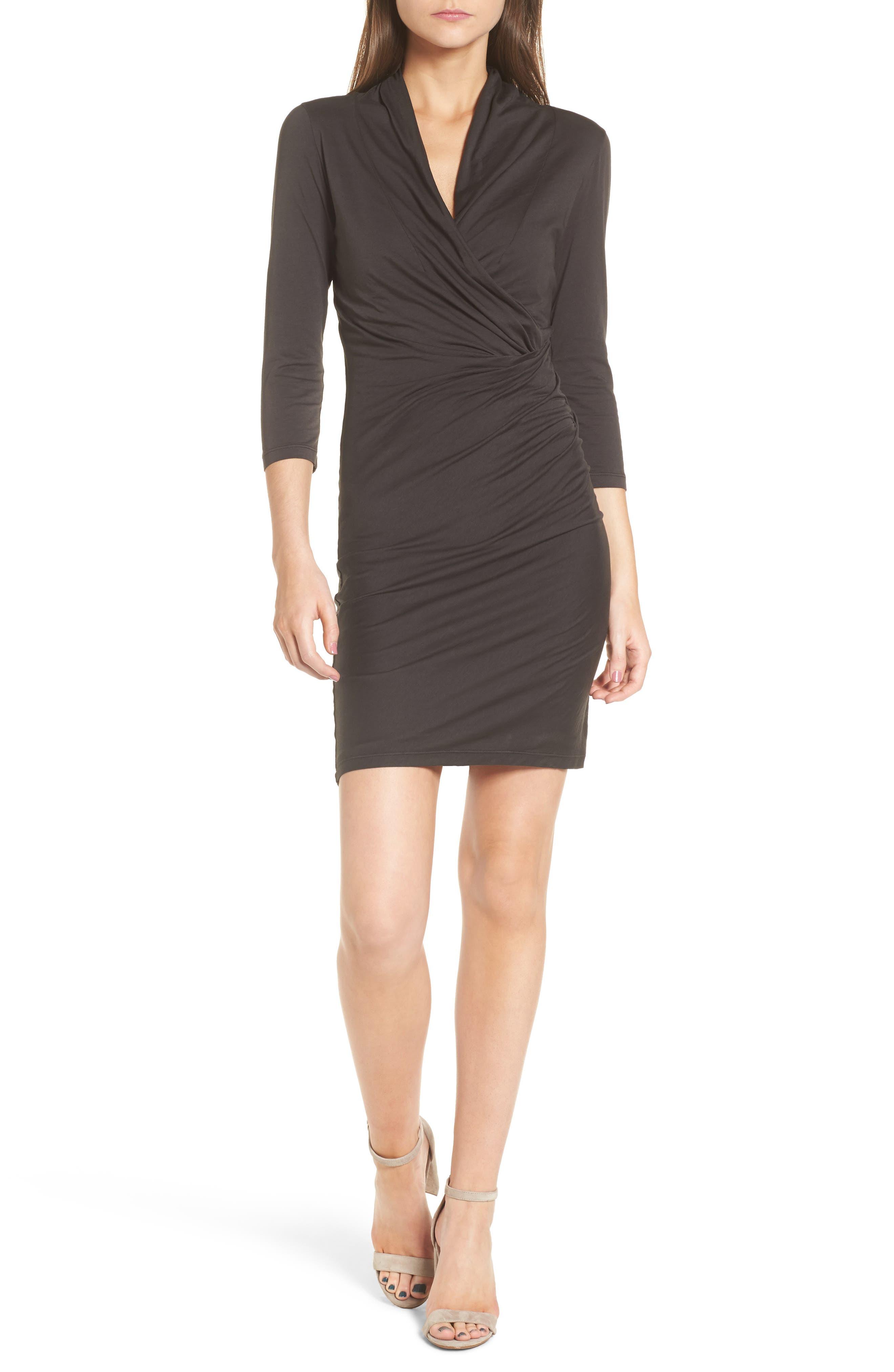 Whisper Surplice Dress,                         Main,                         color, Cobble