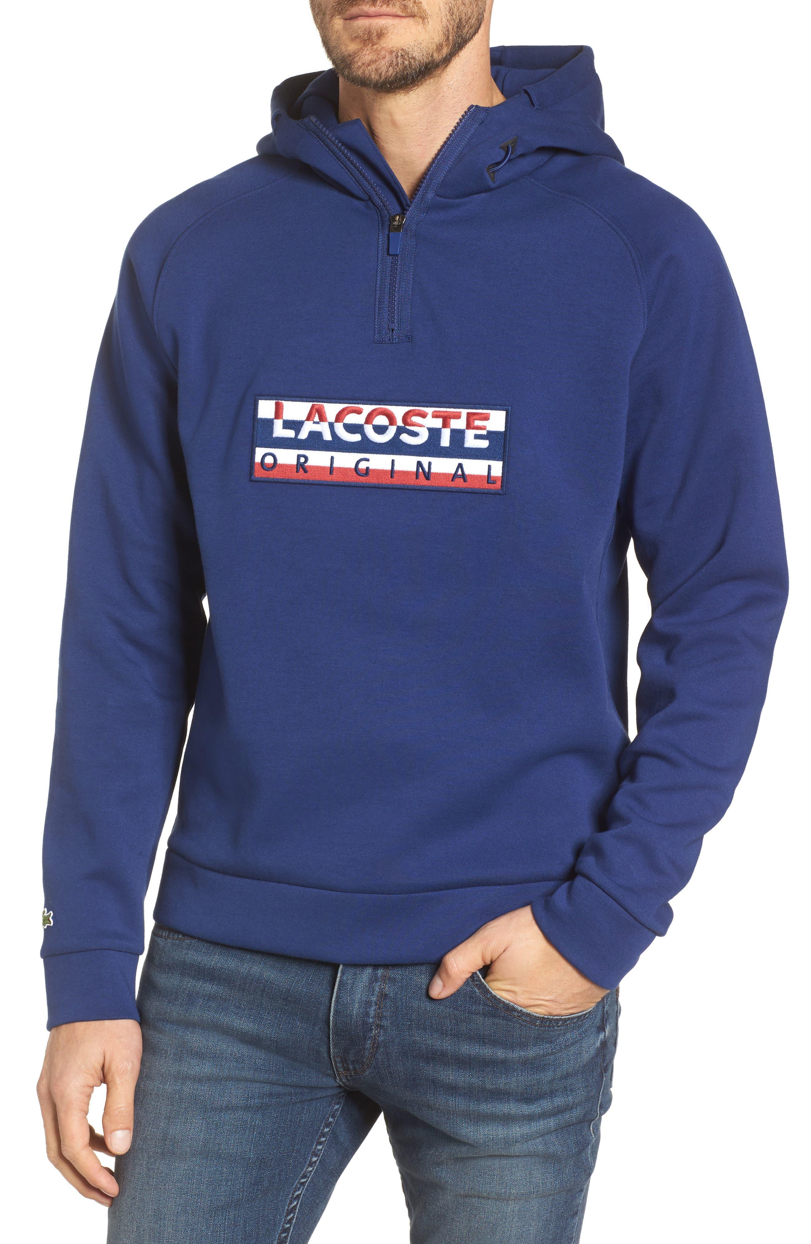 Quarter Zip Fleece Hoodie,                         Main,                         color, F9f Methylene