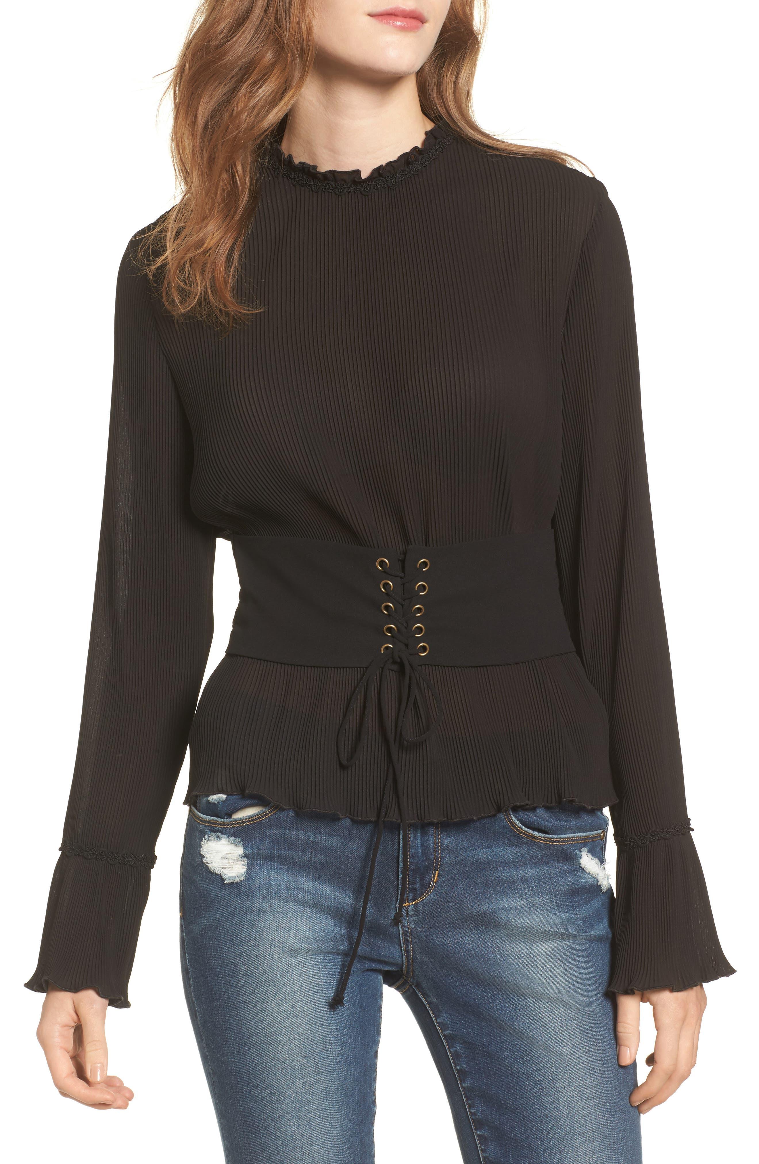 Pleated Chiffon Blouse,                         Main,                         color, Black
