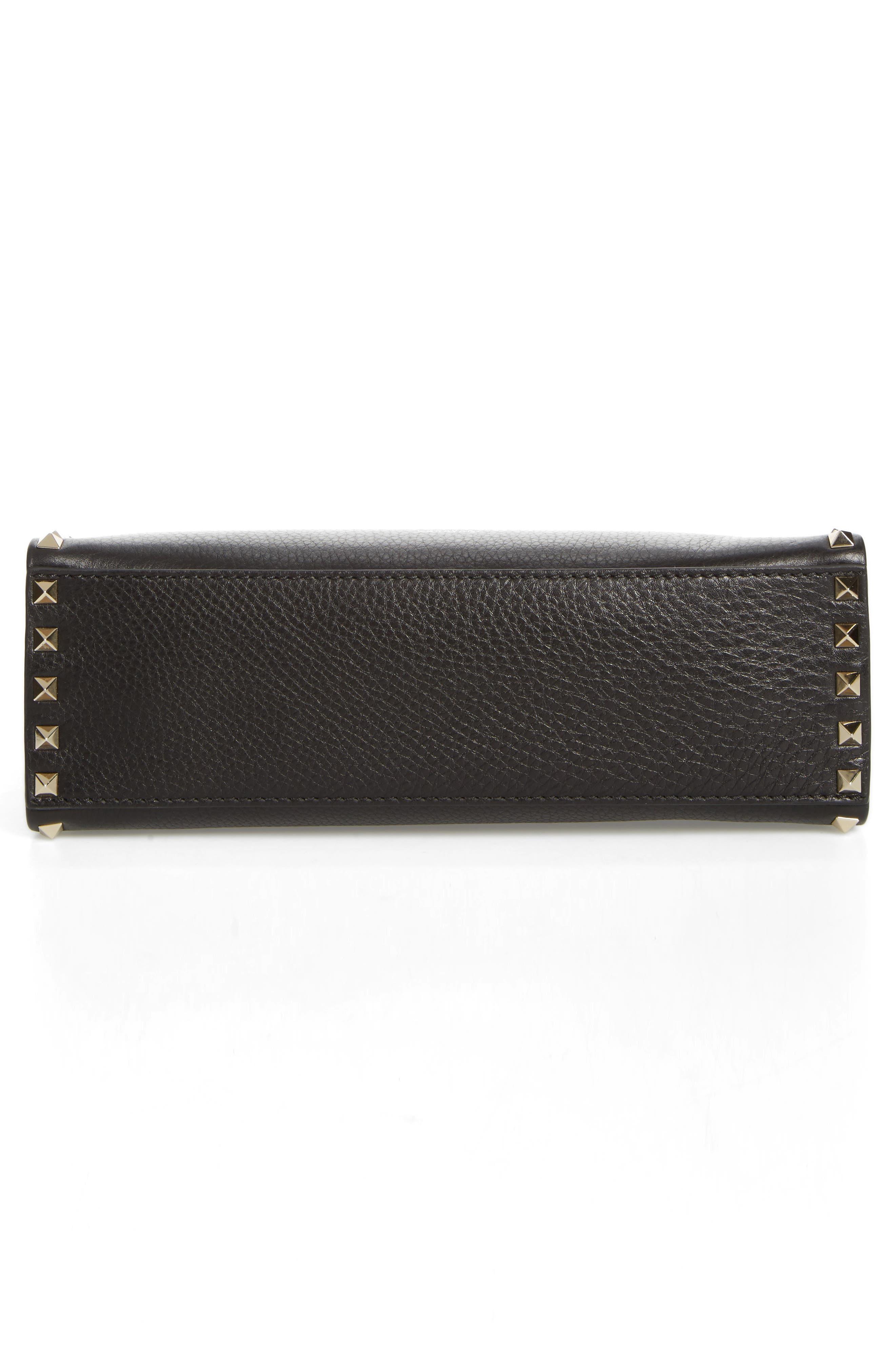 Small Rockstud Leather Single Handle Shoulder Bag,                             Alternate thumbnail 4, color,                             Black