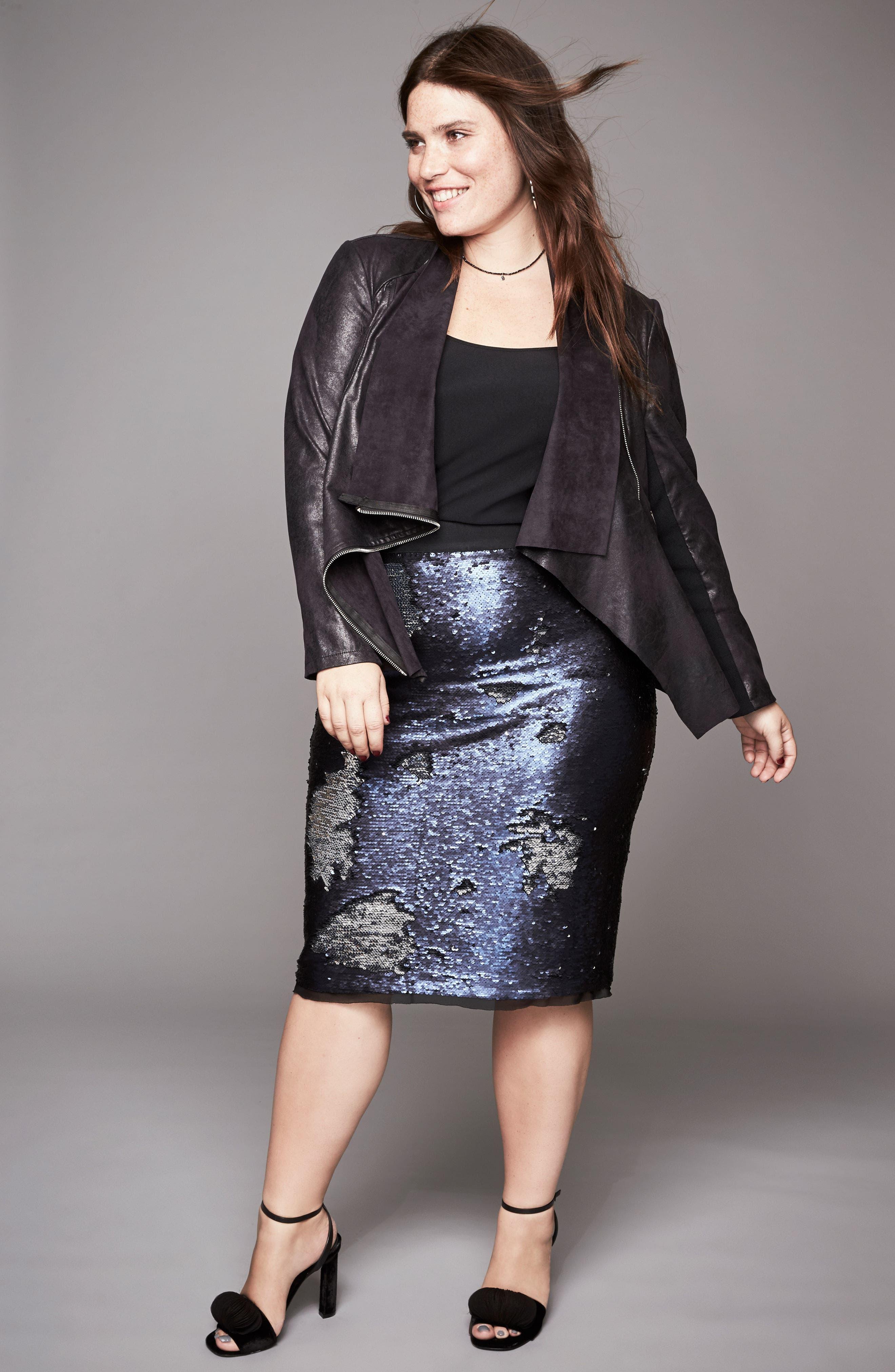Alternate Image 8  - REBEL WILSON X ANGELS Asymmetrical Faux Leather Jacket (Plus Size)