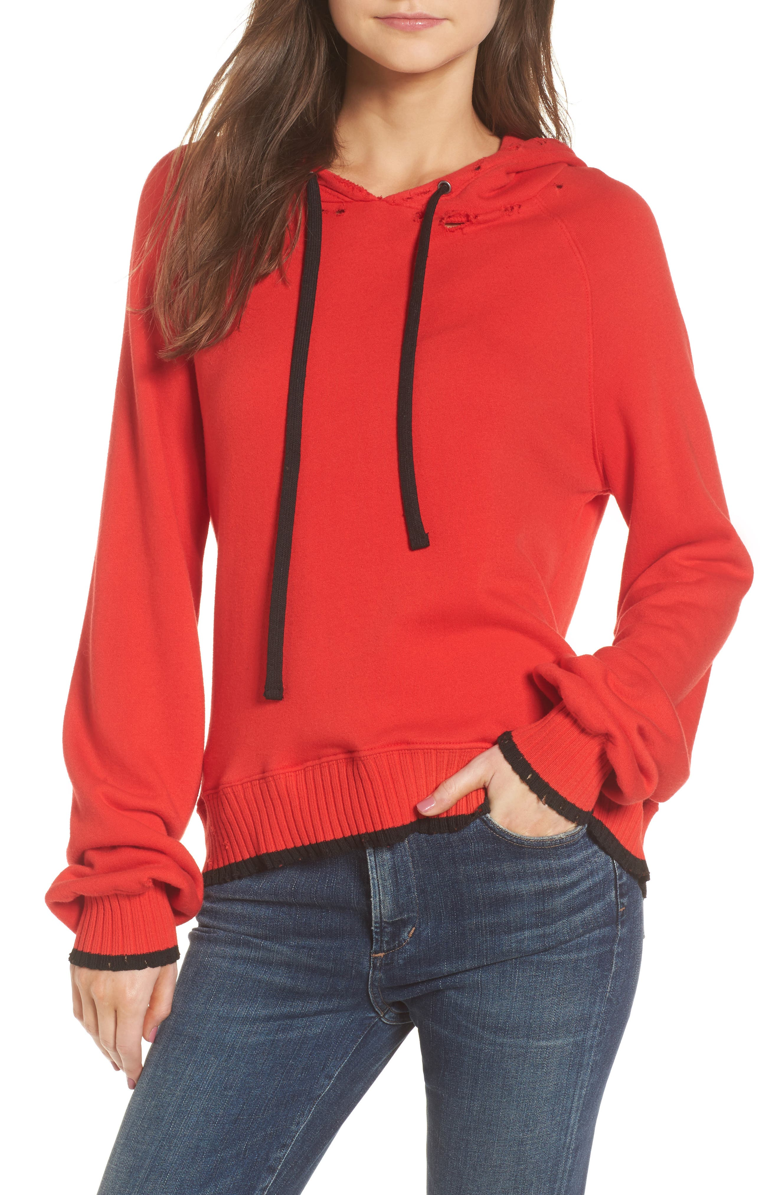 Hollywood Tipped Hoodie,                             Main thumbnail 1, color,                             Formula 1 Red