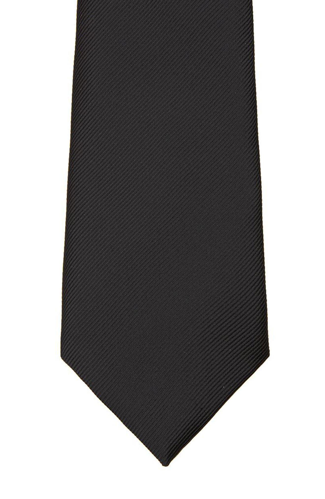 Black Woven Tie,                             Alternate thumbnail 2, color,                             Black