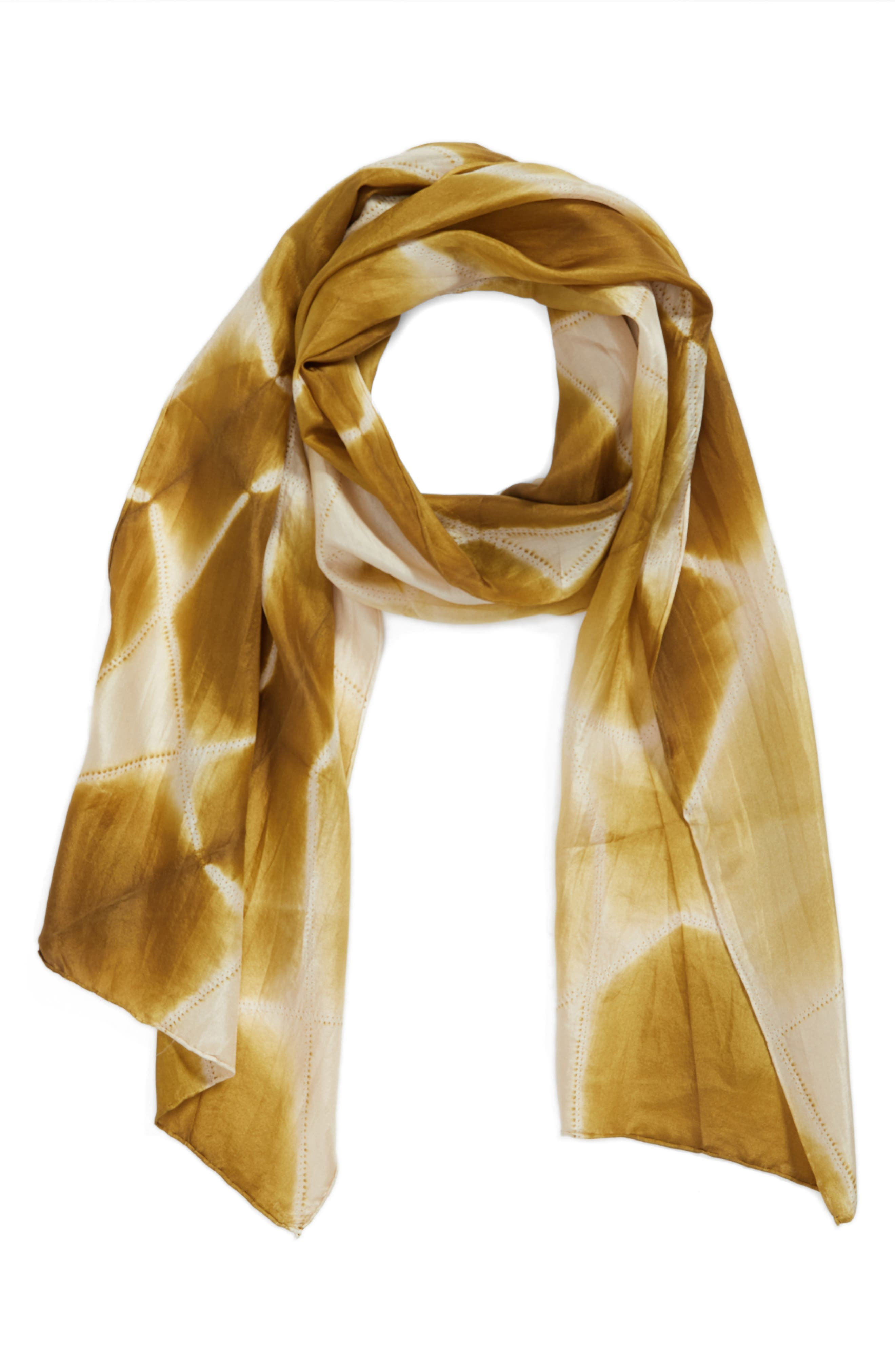 Tie Dye Silk Scarf,                             Alternate thumbnail 4, color,                             Gold Leaf