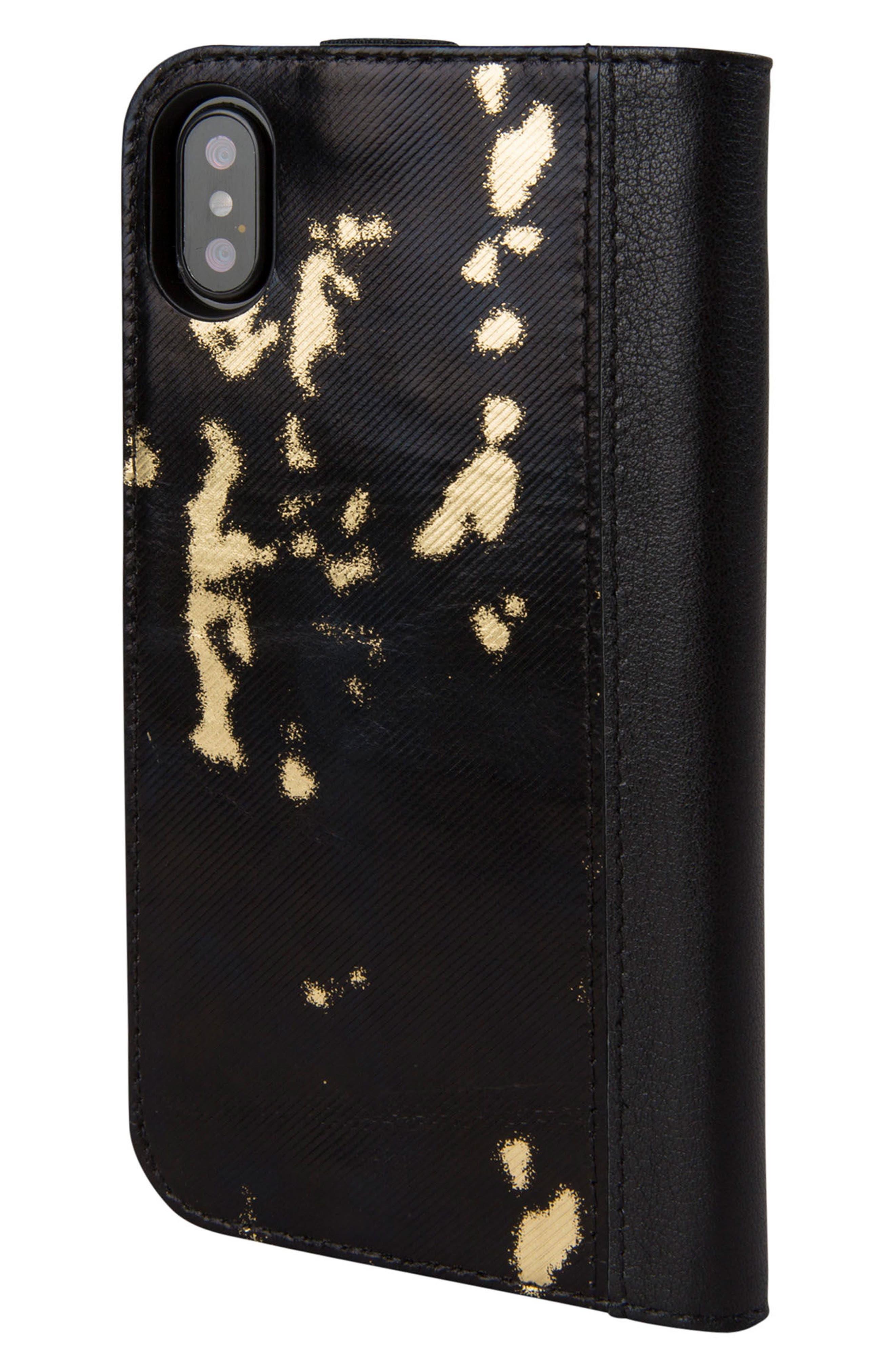 Icon iPhone X Wallet Case,                             Alternate thumbnail 4, color,                             Black/ Gold