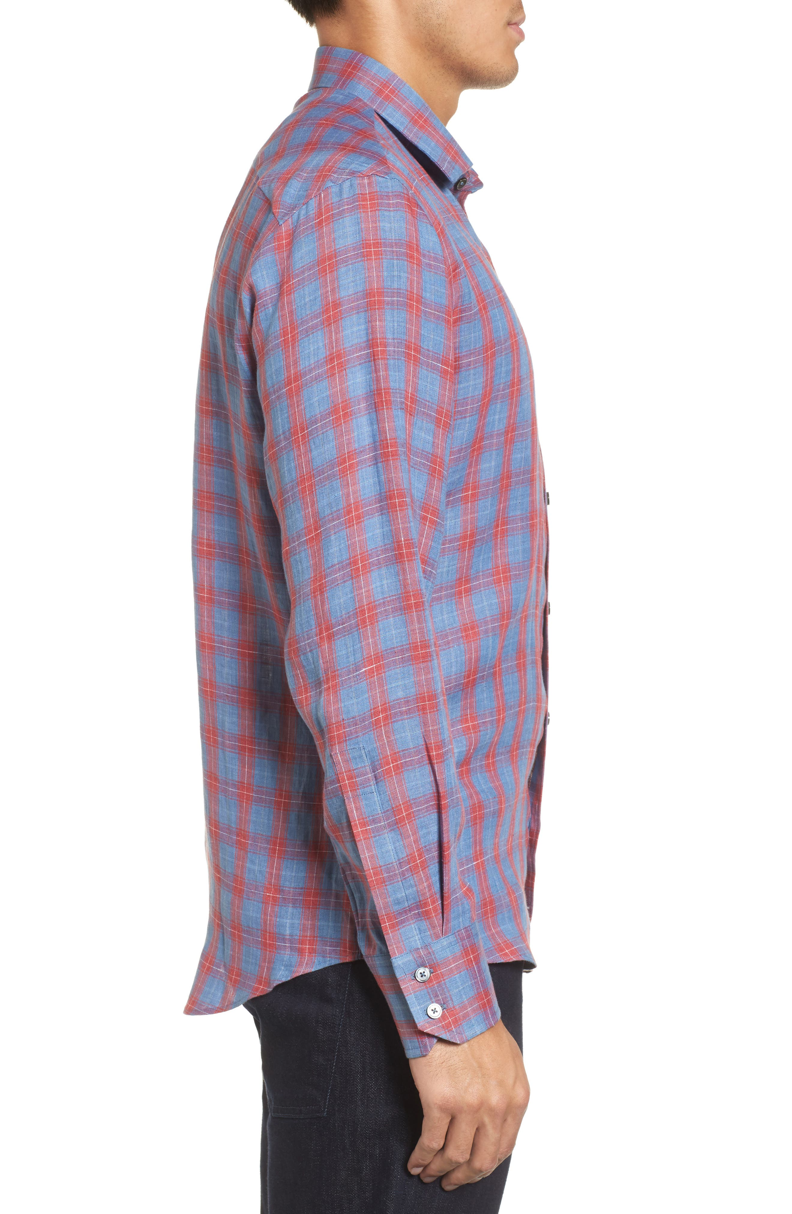 Liam Plaid Woven Sport Shirt,                             Alternate thumbnail 3, color,                             Red