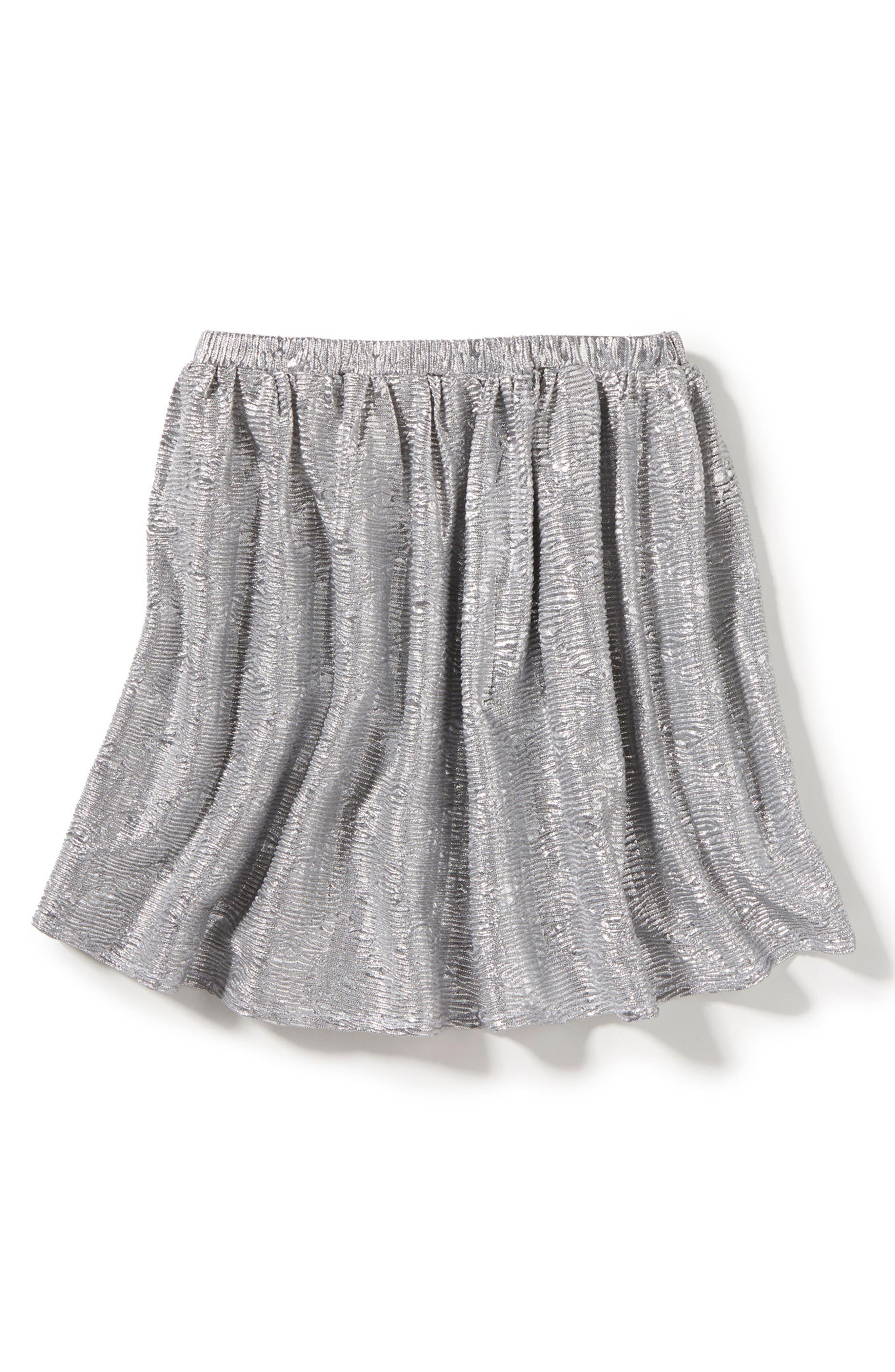Marlow Metallic Skirt,                         Main,                         color, Silver