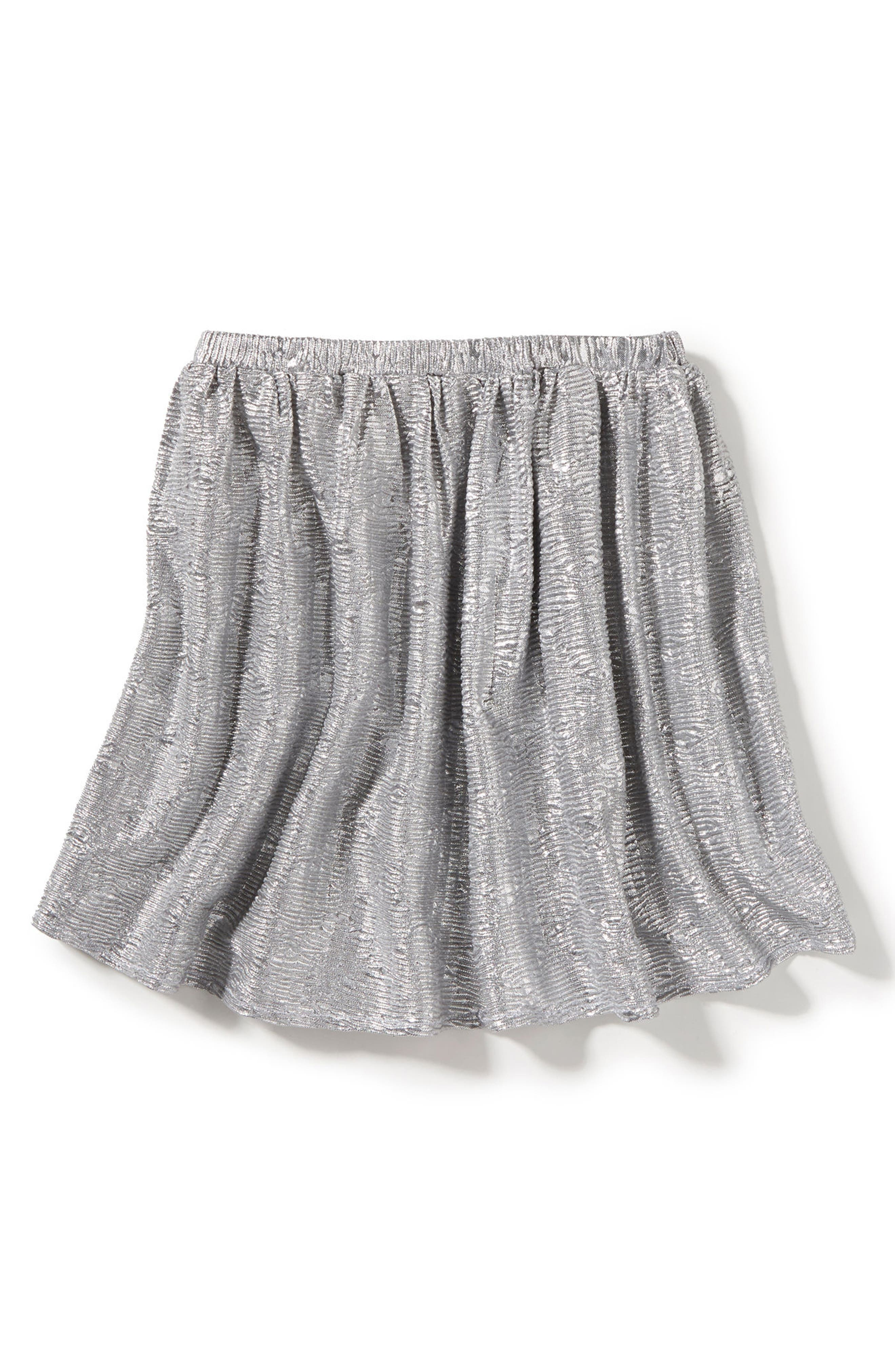Marlow Metallic Skirt,                         Main,                         color, Silver