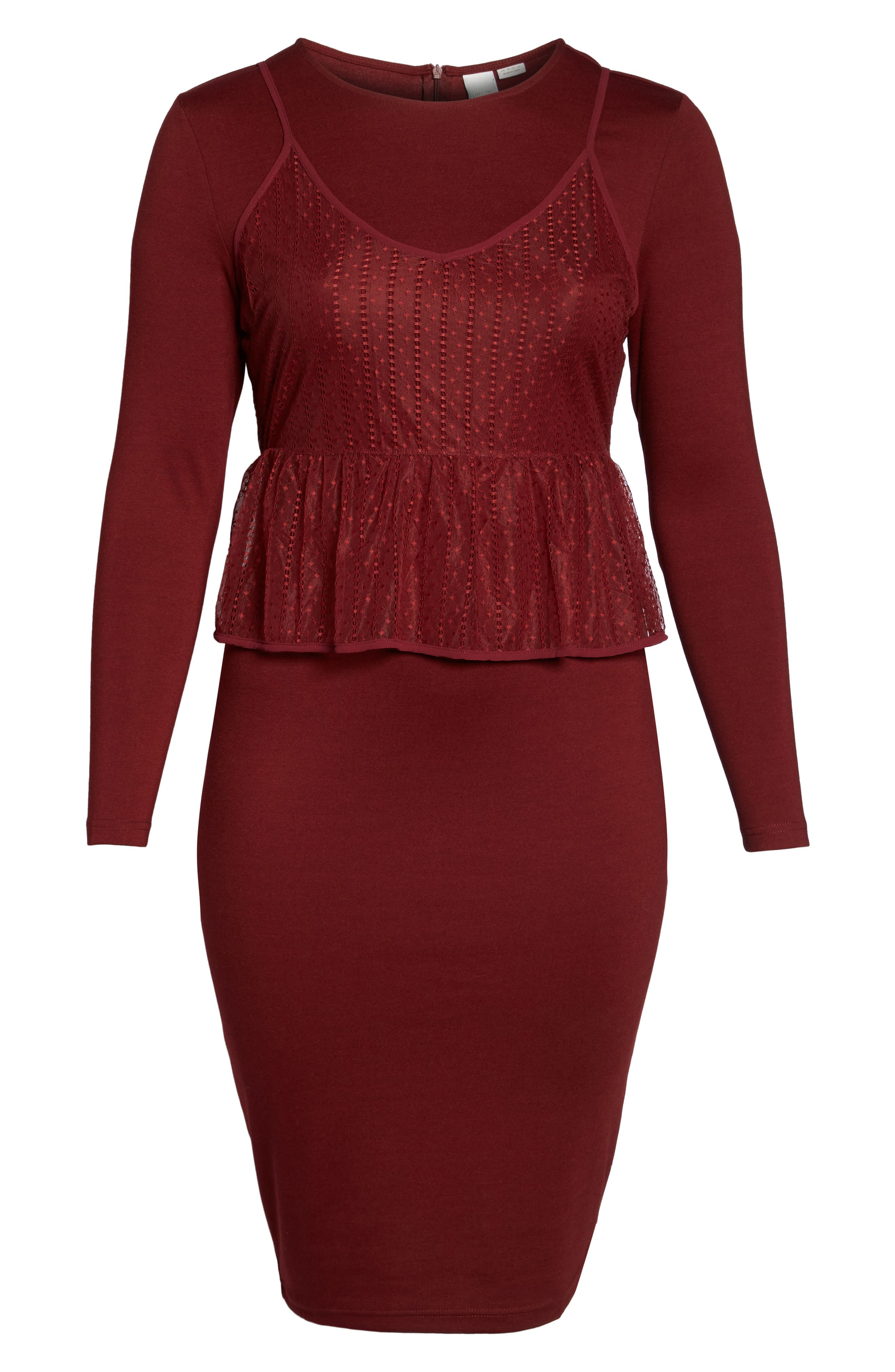 Peplum Overlay Body-Con Dress,                             Alternate thumbnail 7, color,                             Oxblood