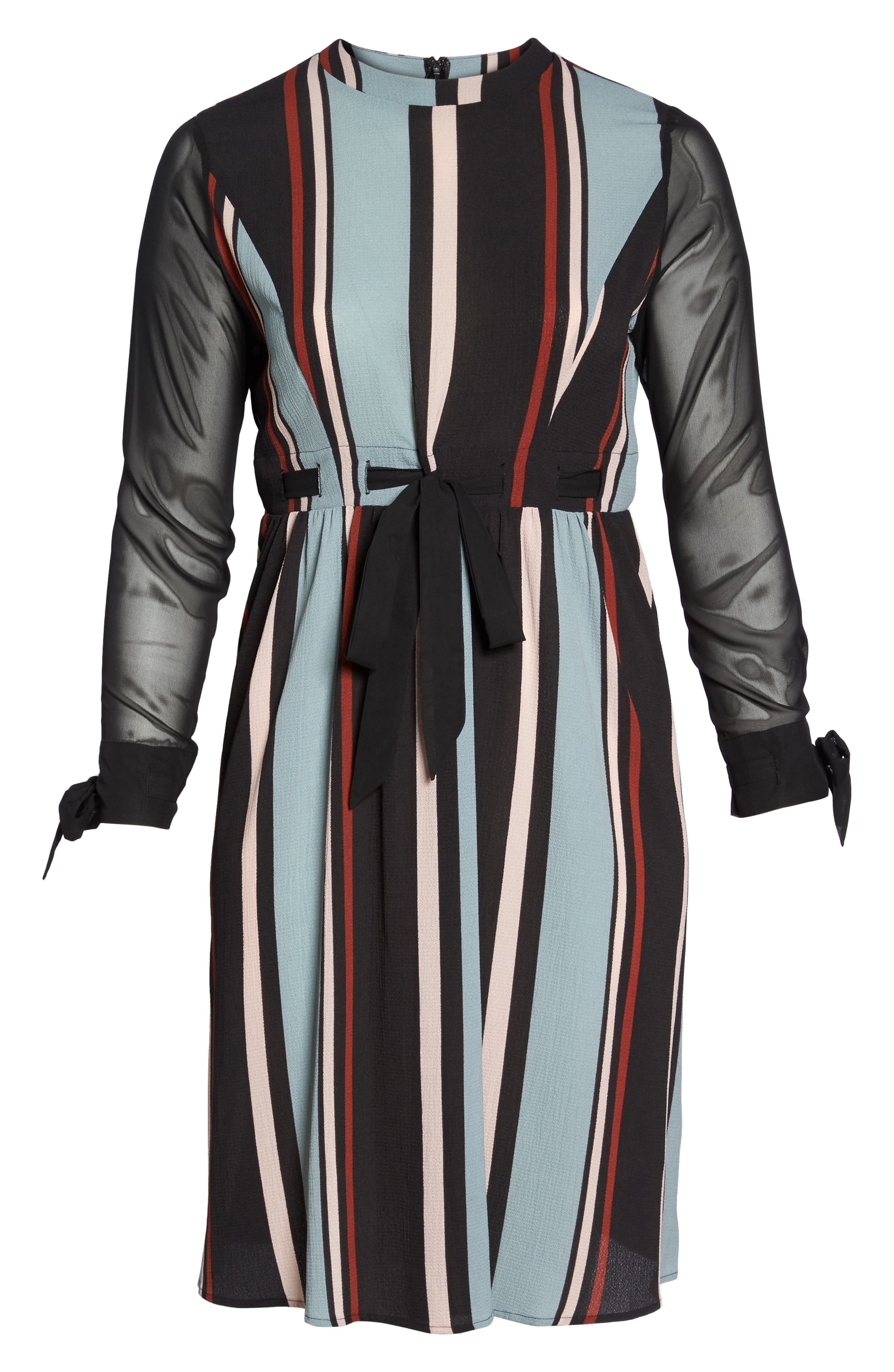Alternate Image 7  - LOST INK Stripe Fit & Flare Dress (Plus Size)