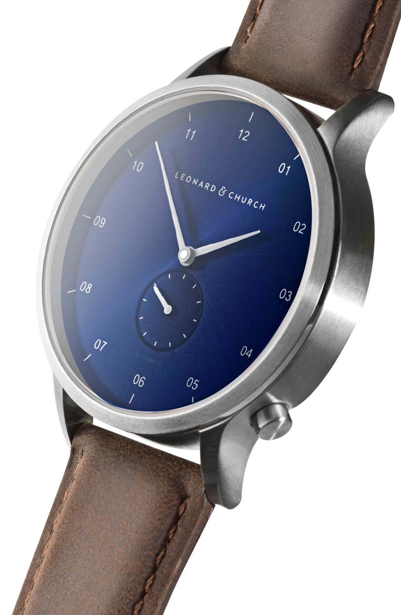 Leonard & Church Sullivan Automatic Suede Strap Watch, 39mm,                             Alternate thumbnail 5, color,                             Dark Brown/ Blue/ Silver