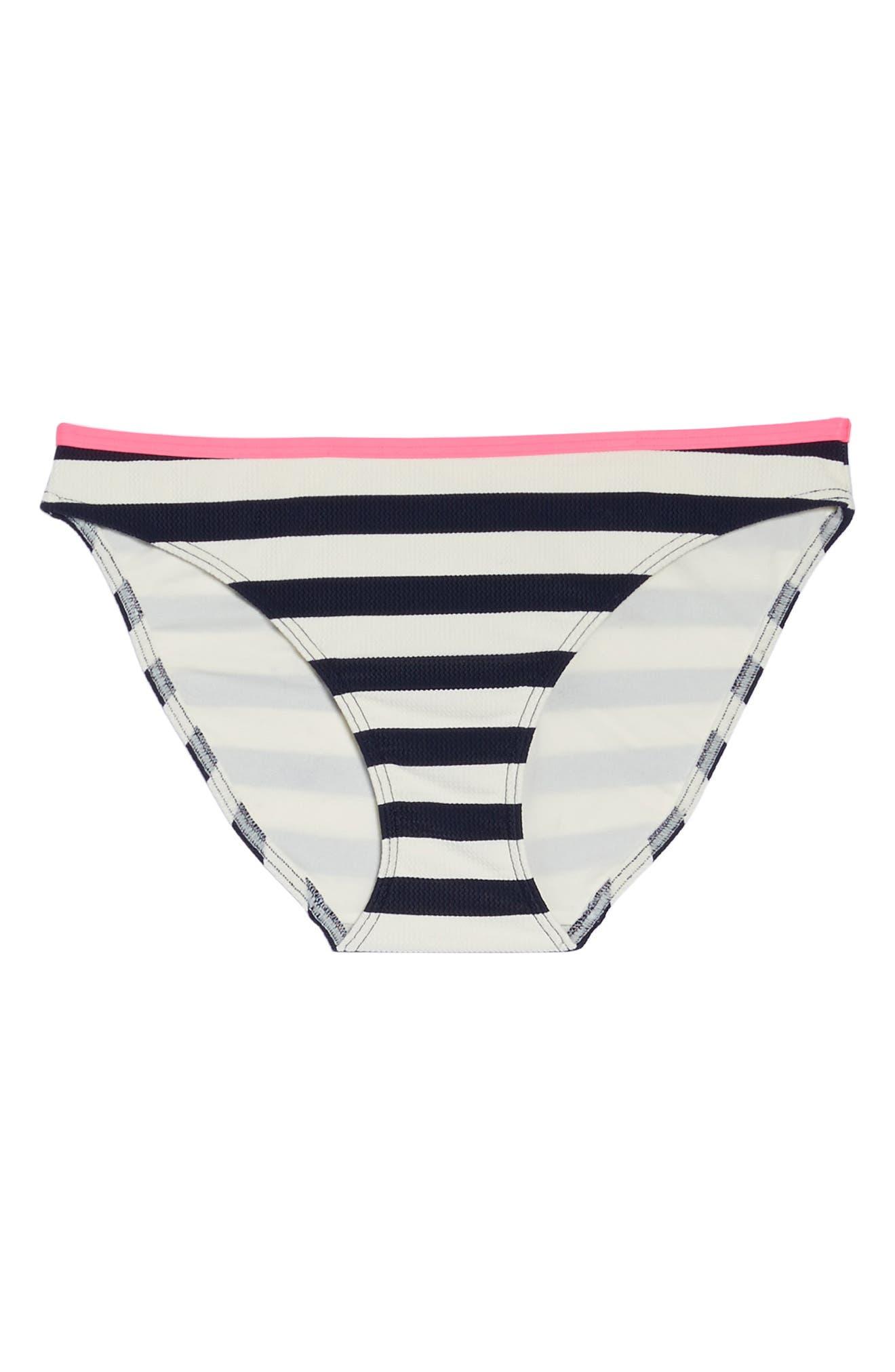 Textured Stripe Hipster Bikini Bottoms,                             Alternate thumbnail 7, color,                             Navy