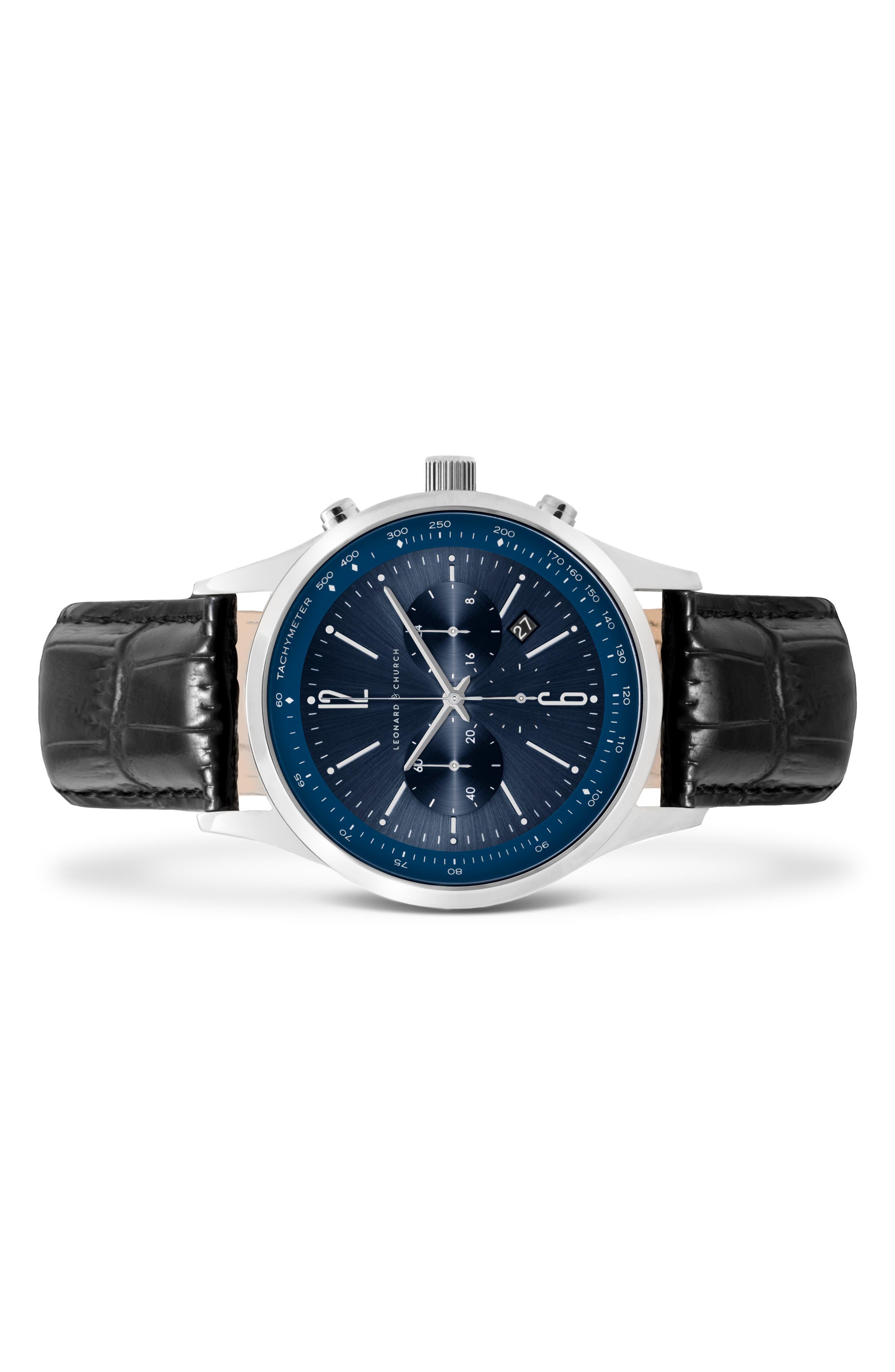 Leonard & Church Barclay Chronograph Leather Strap Watch, 43mm,                             Alternate thumbnail 4, color,                             Black/ Blue/ Silver