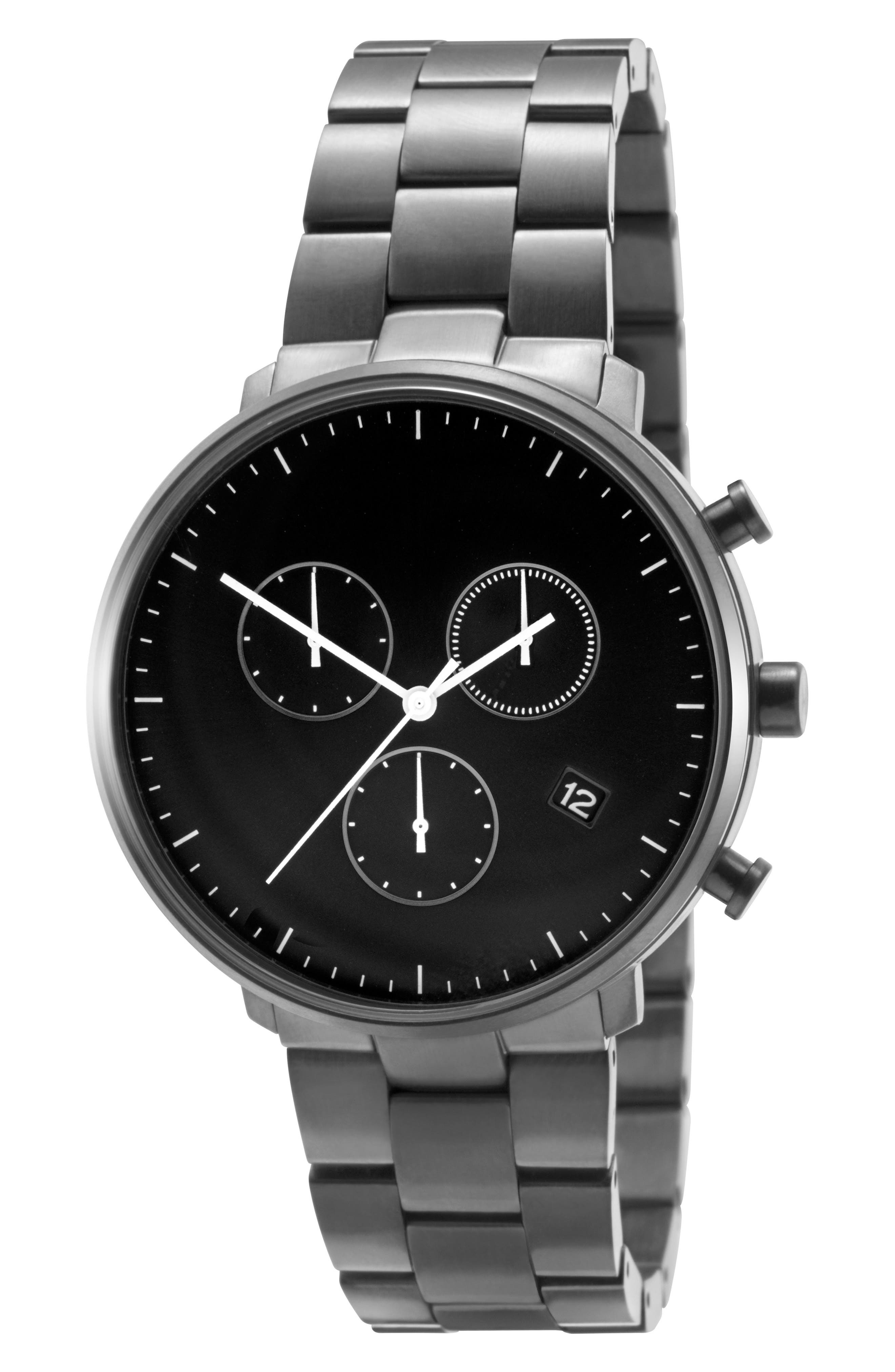 Leonard & Church Bleeker Chronograph Bracelet Watch, 40mm,                             Alternate thumbnail 5, color,                             Black