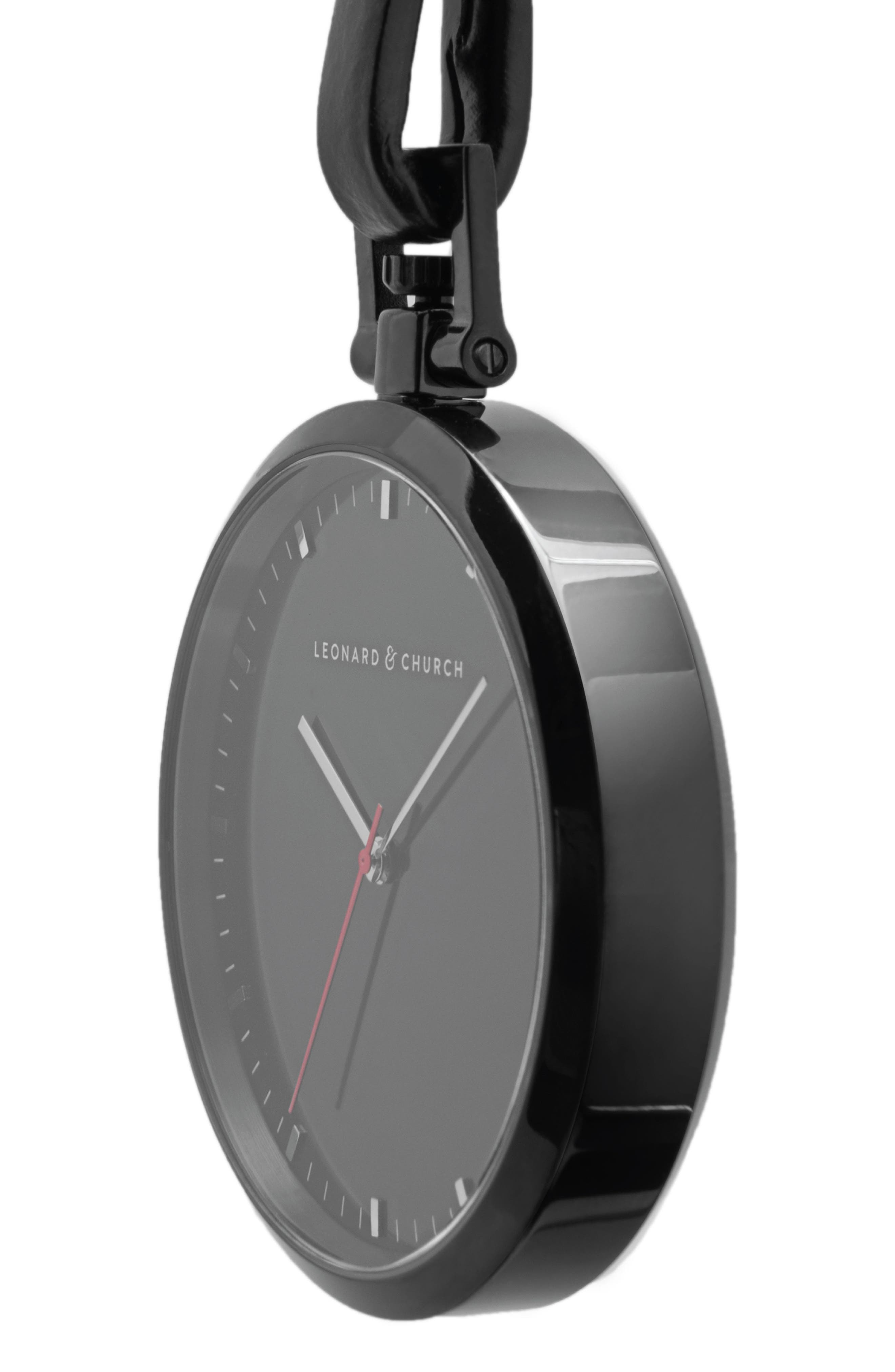 Alternate Image 2  - Leonard & Church Prospect Leather Strap Pocket Watch, 48mm