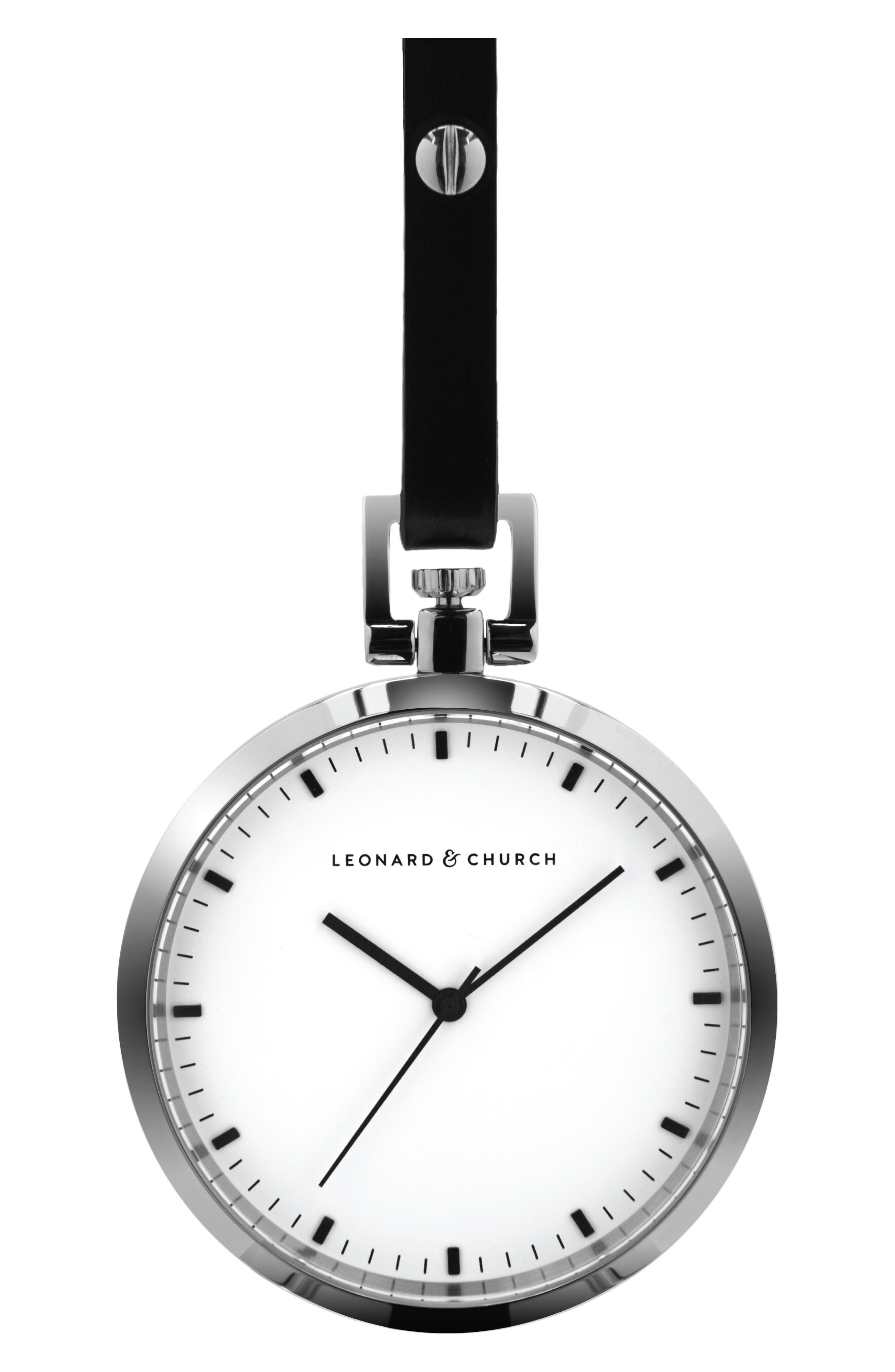 Leonard & Church Prospect Leather Strap Pocket Watch, 48mm,                         Main,                         color, Silver