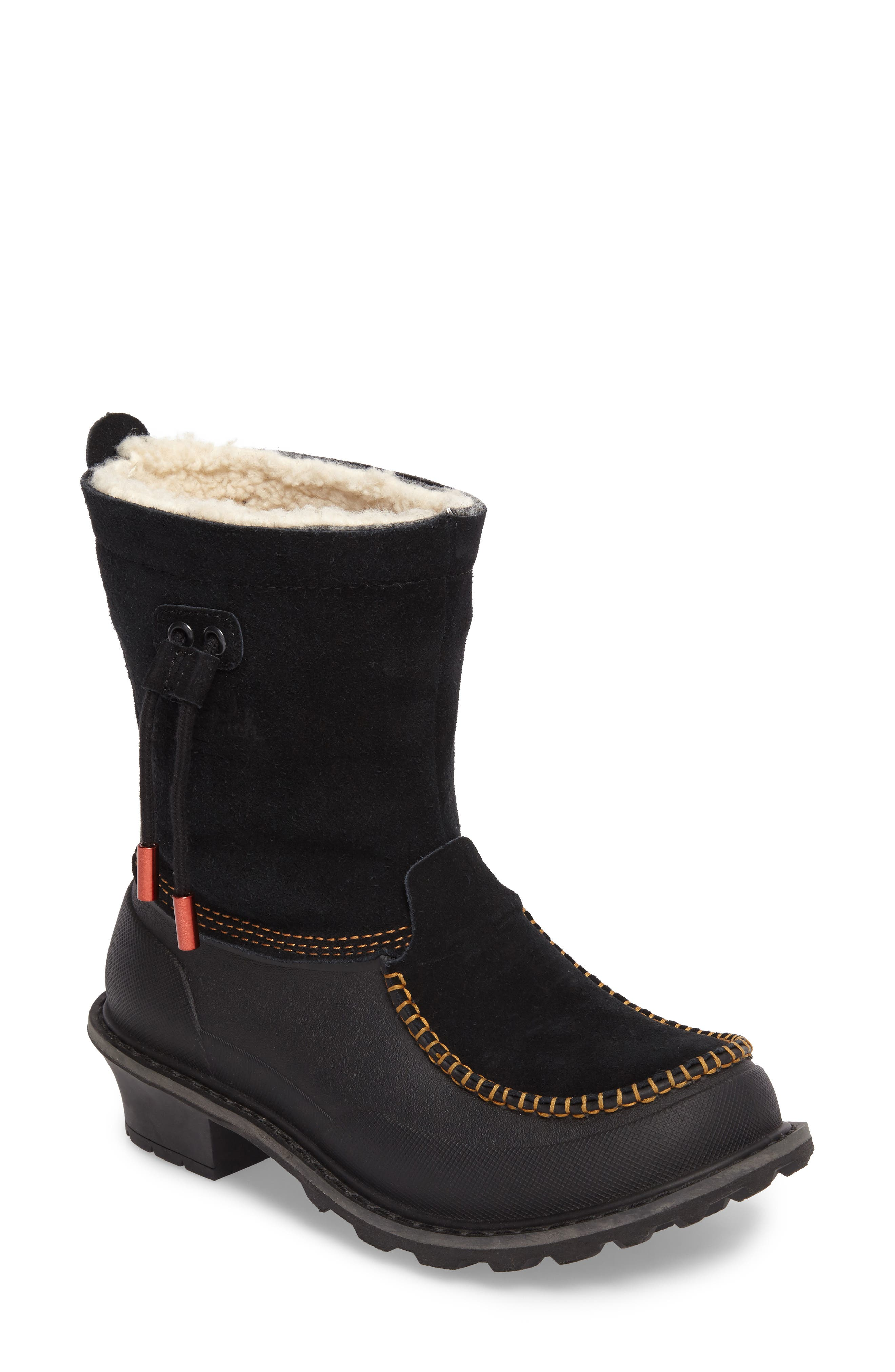 Fully Wooly Waterproof Winter Boot,                             Main thumbnail 1, color,                             Black Leather