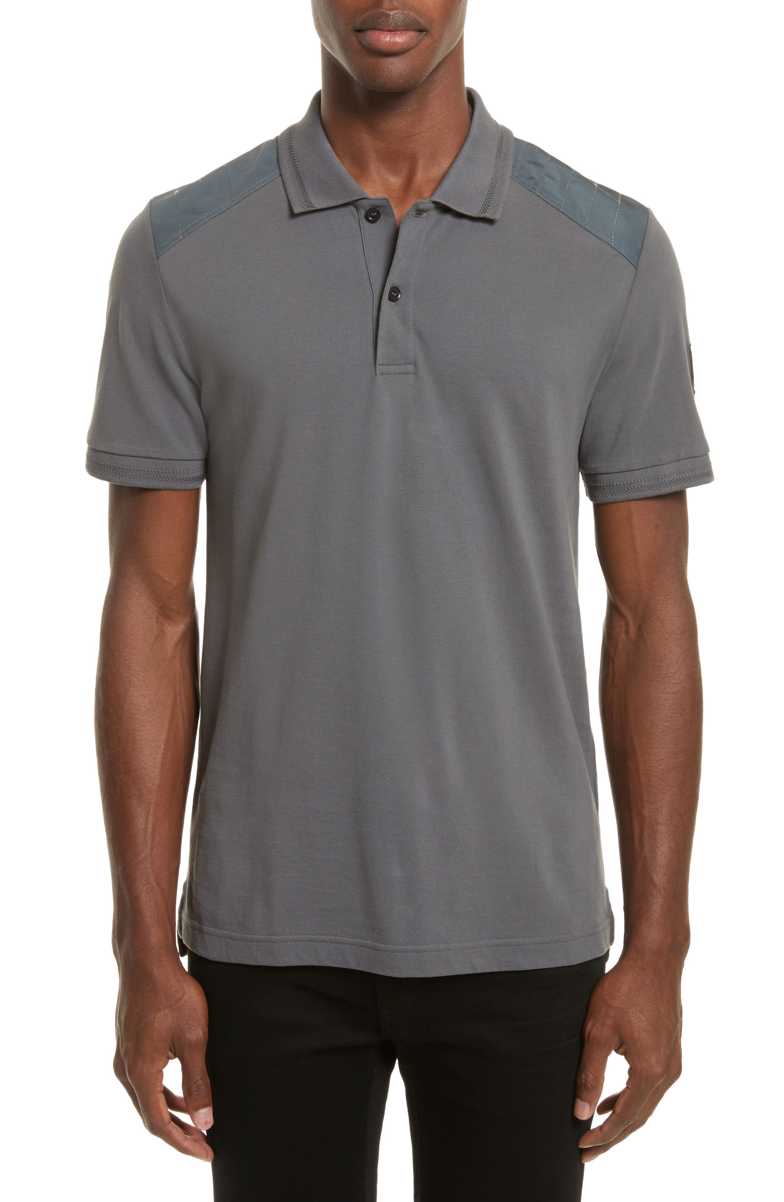 HItchin Extra Trim Fit Piqué Polo,                             Main thumbnail 1, color,                             Blue Pewter