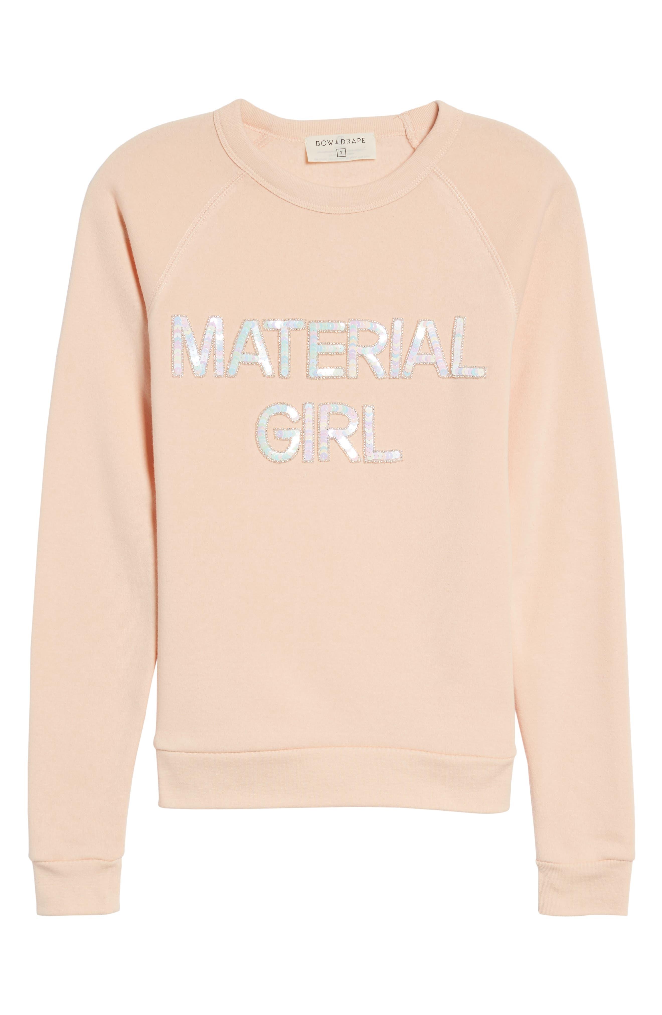 Material Girl Sweatshirt,                             Alternate thumbnail 6, color,                             Blush
