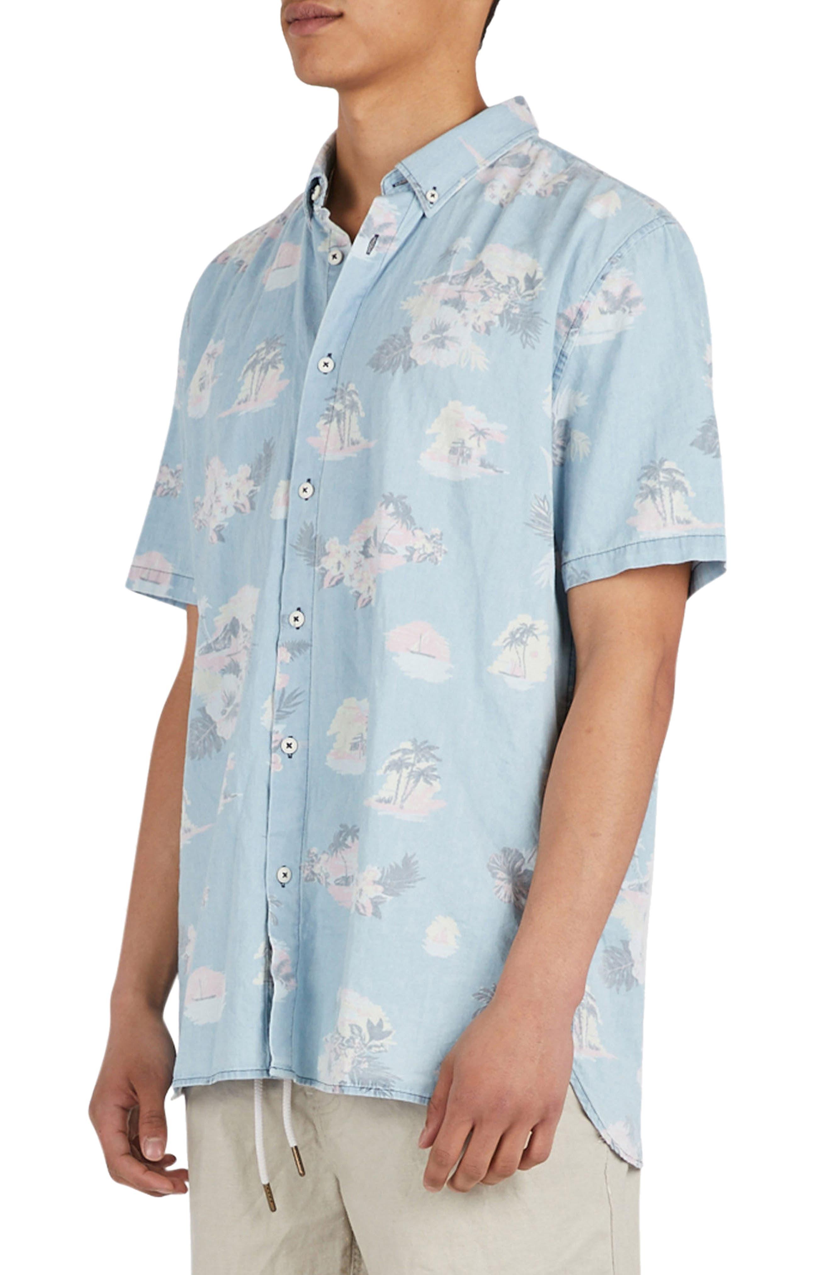 Tropical Print Woven Shirt,                             Alternate thumbnail 3, color,                             Indigo/ Floral