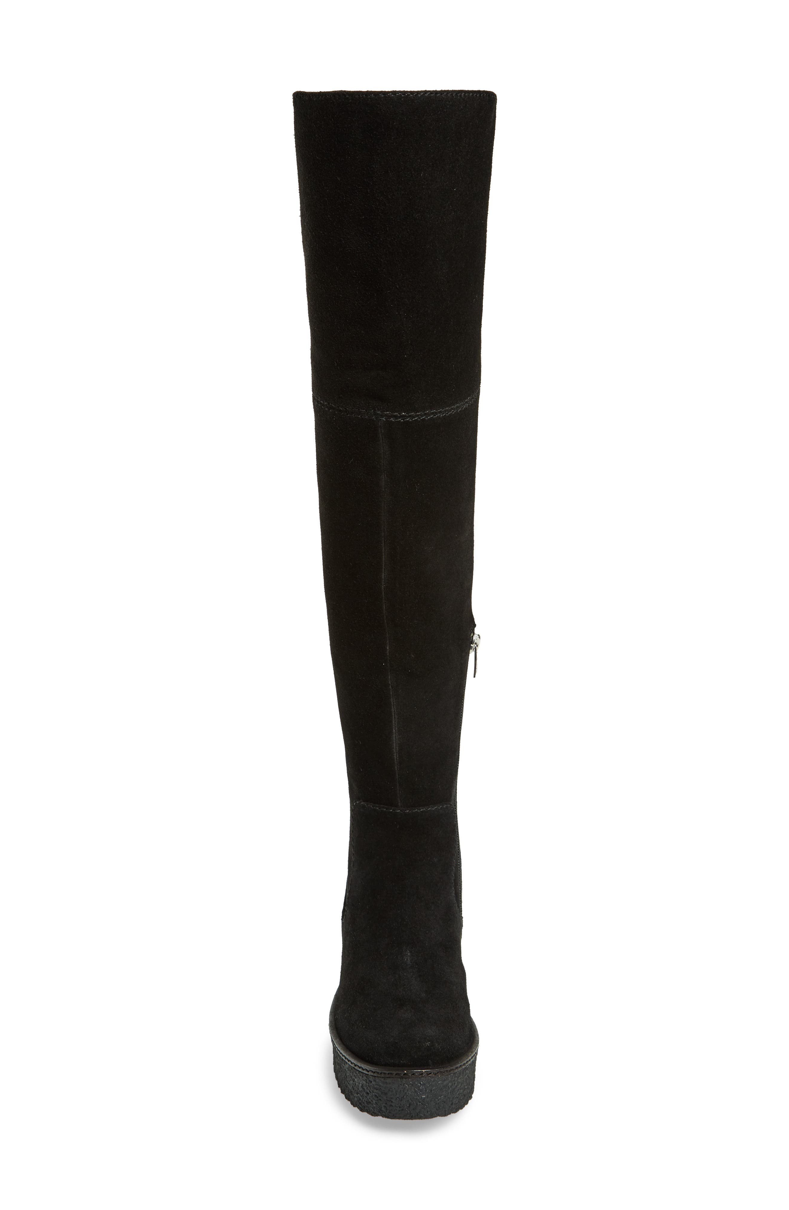 Tazza Over the Knee Boot,                             Alternate thumbnail 4, color,                             Black Suede