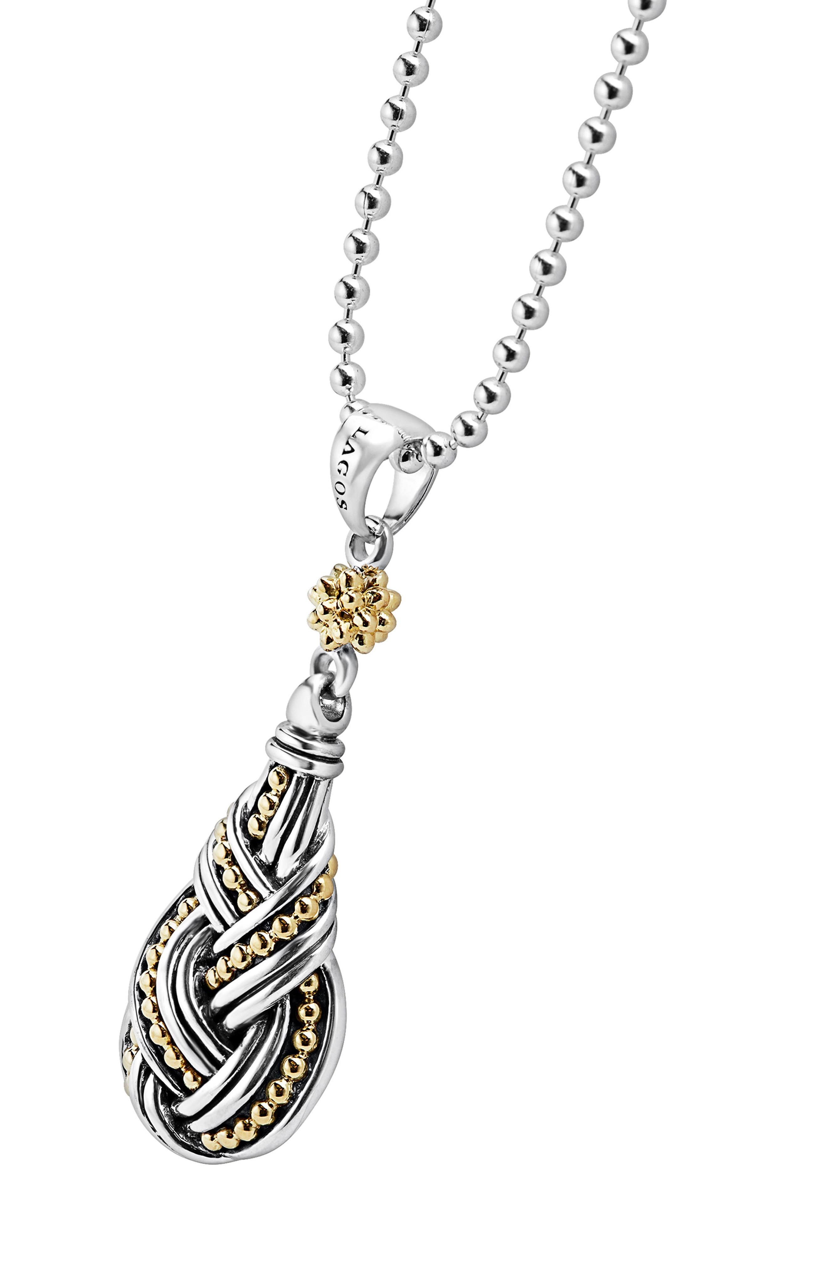 Torsade Long Pendant Necklace,                             Alternate thumbnail 4, color,                             Silver/ Gold