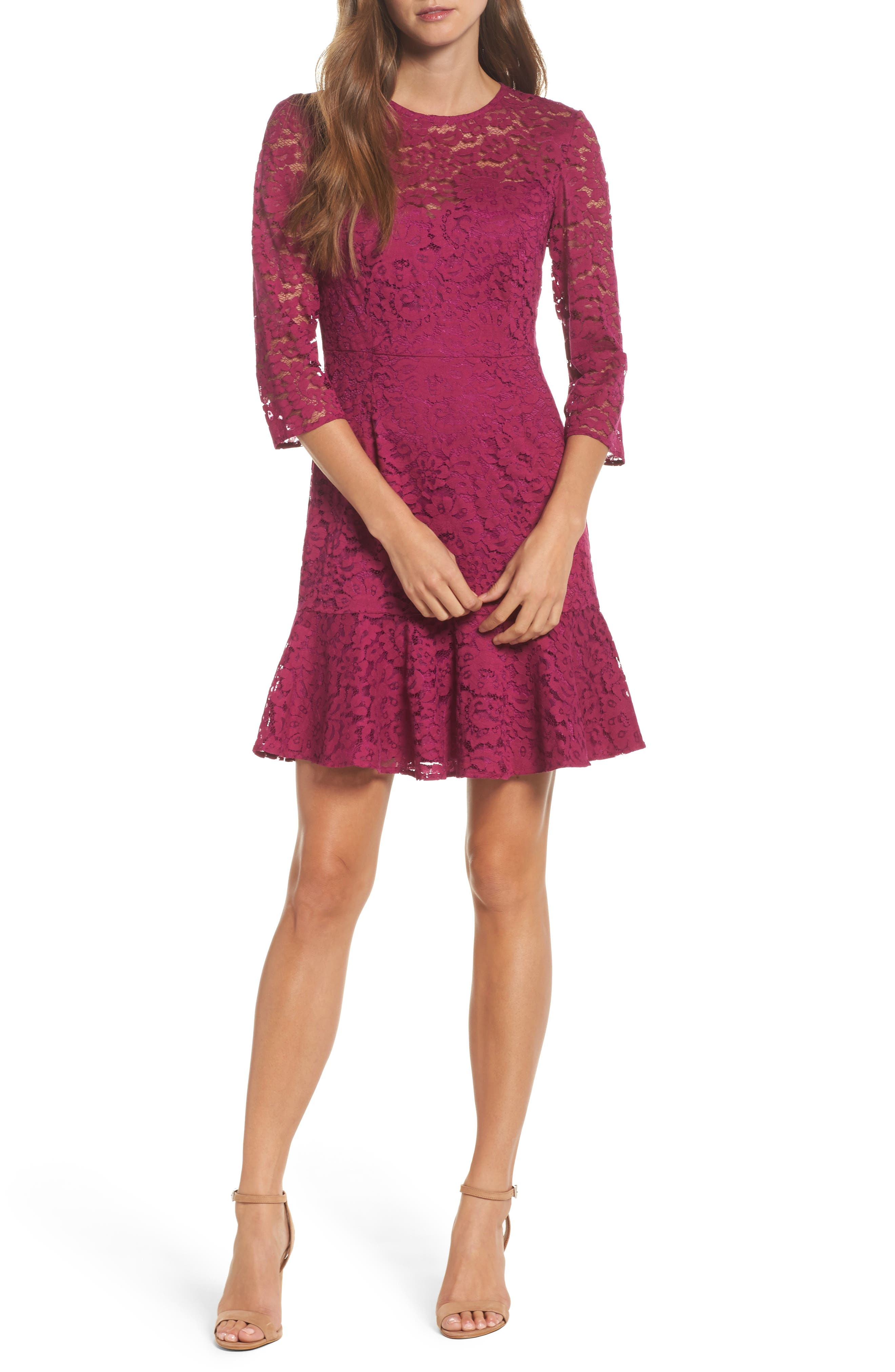 Stanley Lace Fit & Flare Dress,                             Main thumbnail 1, color,                             Dewberry