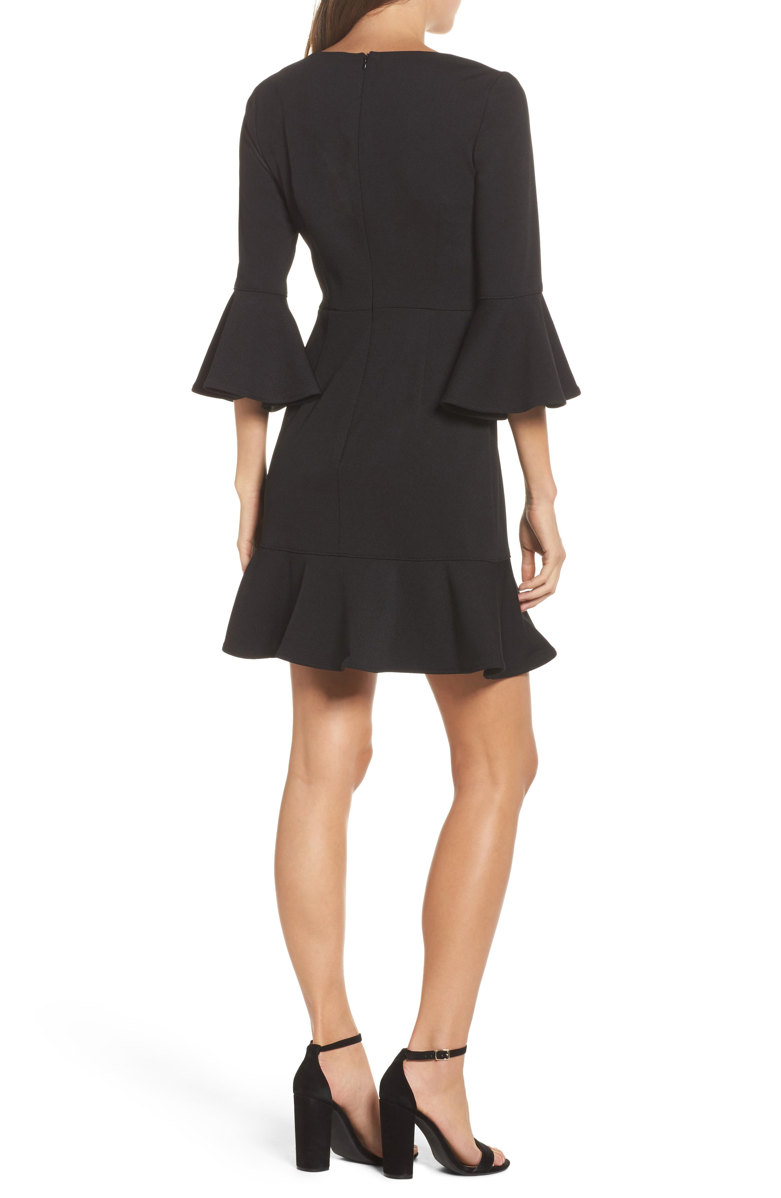 Clearwater Ruffle Sheath Dress,                             Alternate thumbnail 2, color,                             Black