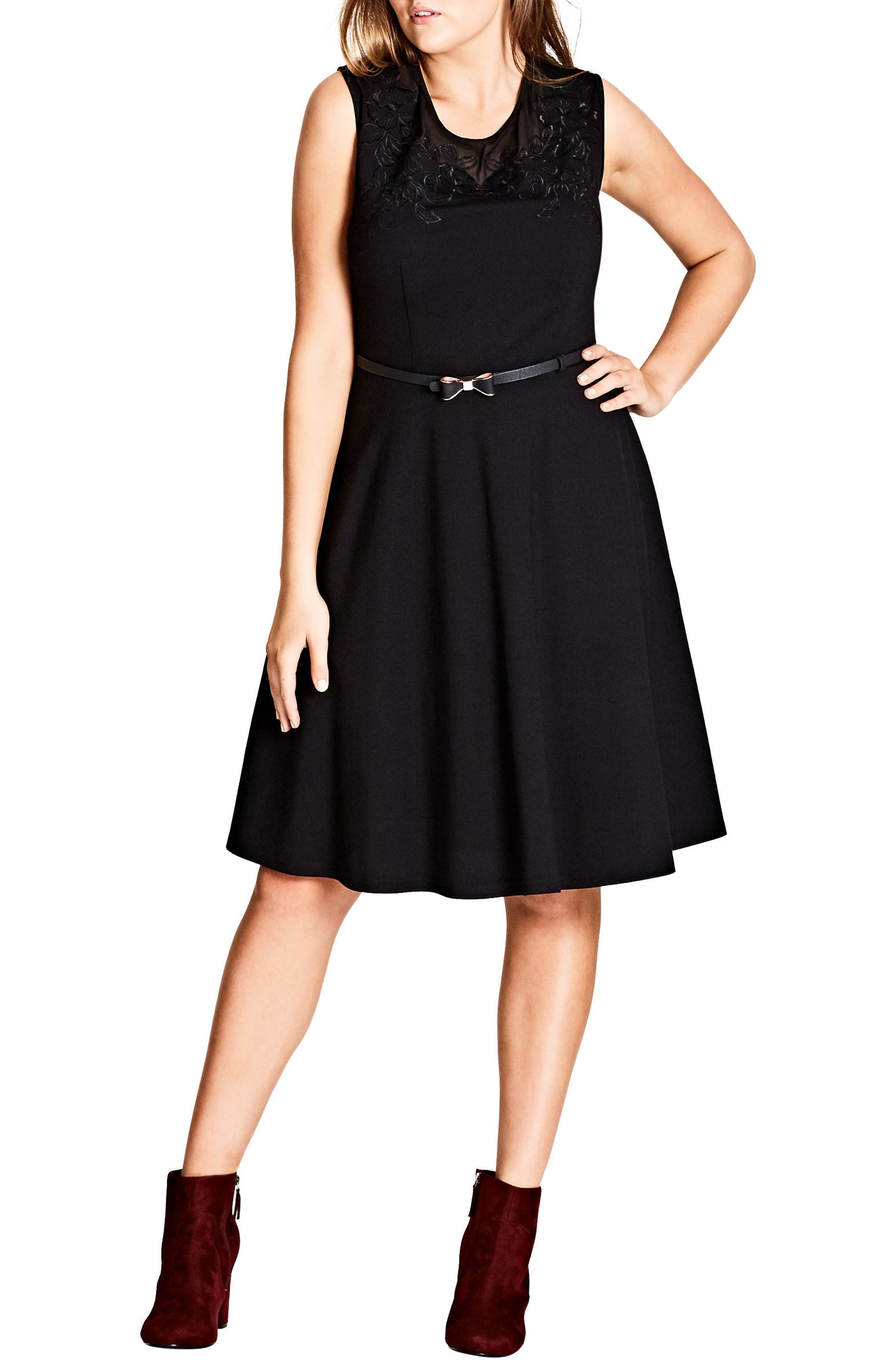 Embroidered Flower Fit-and-Flare Dress,                         Main,                         color, Black