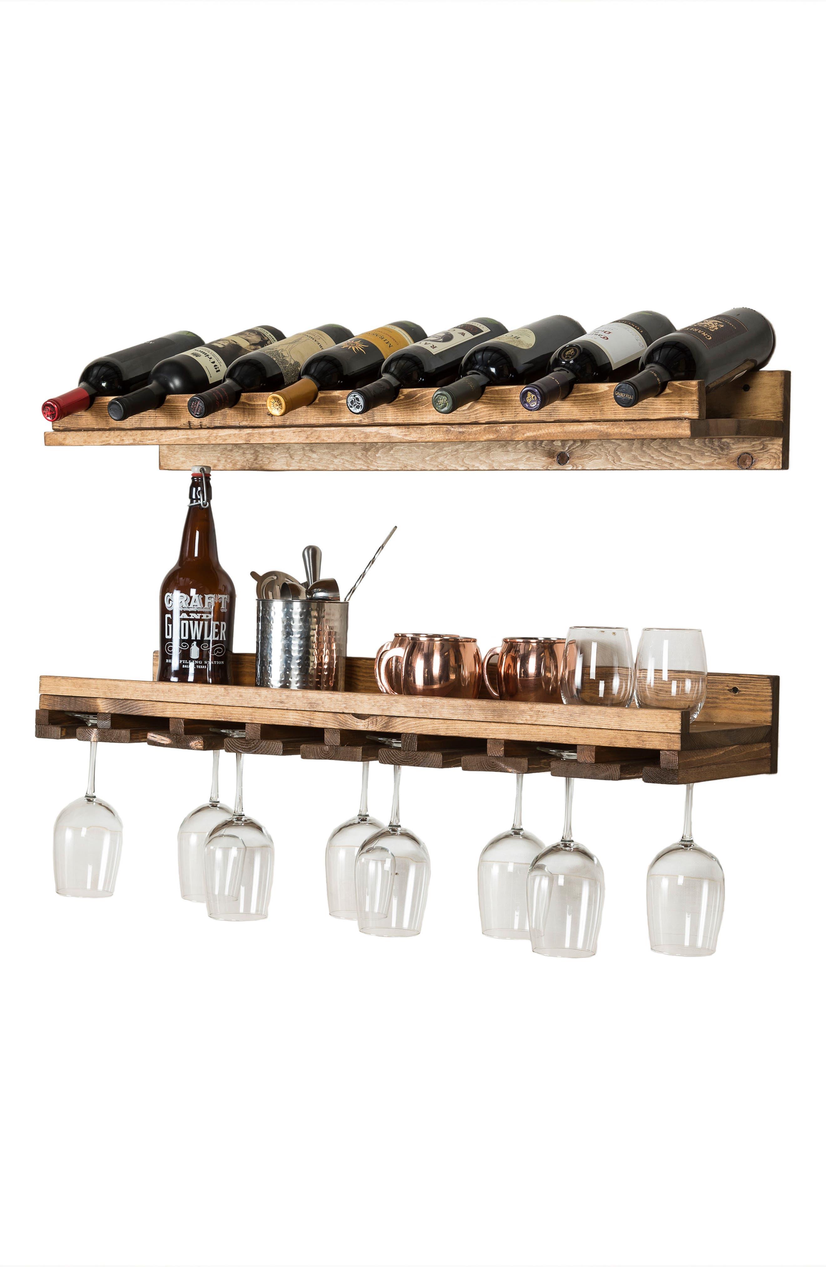 Set of 2 Pine Wood Wine Racks,                             Alternate thumbnail 3, color,                             Dark Walnut