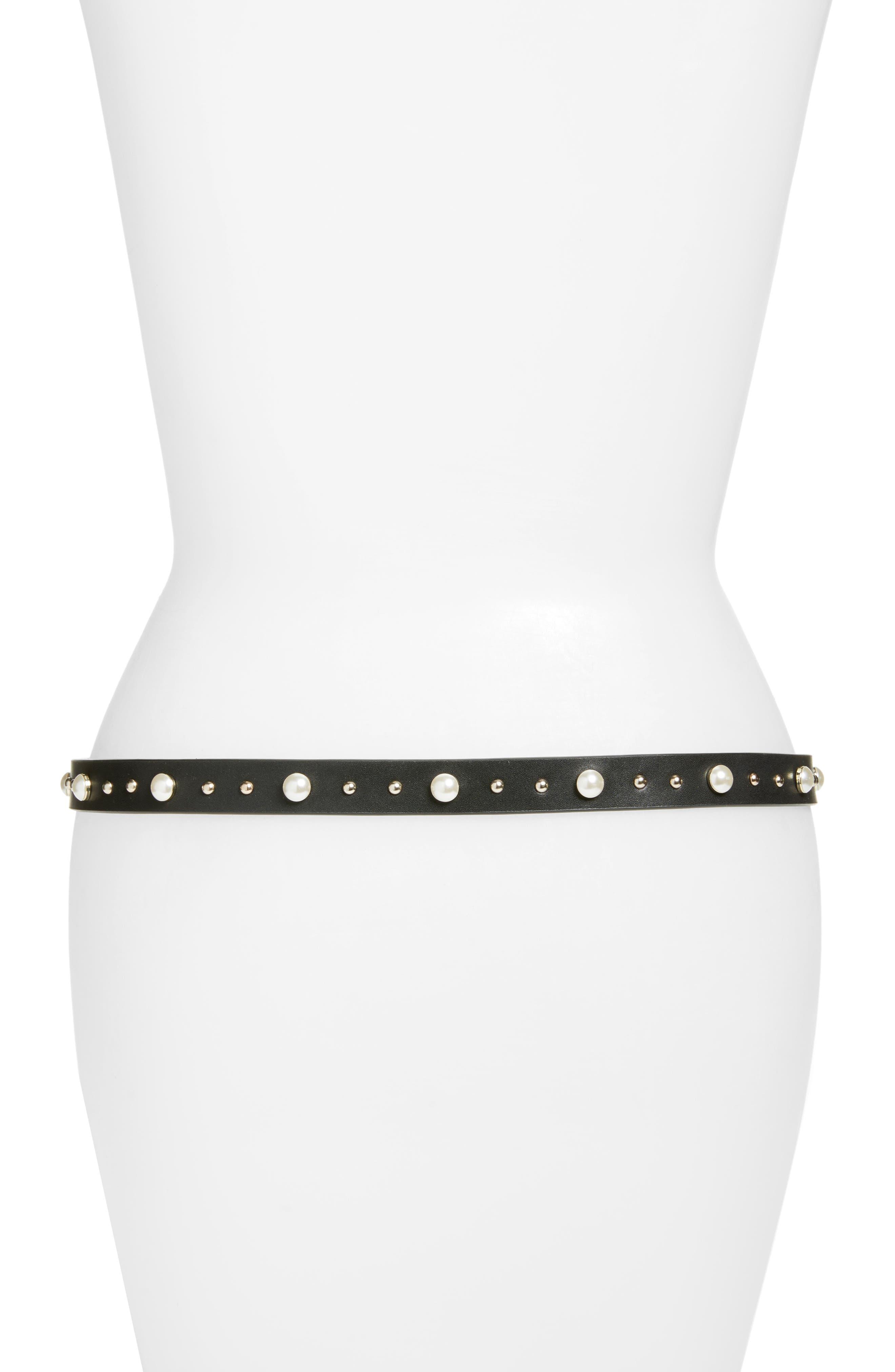 Alternate Image 2  - Rebecca Minkoff Imitation Pearl & Stud Smooth Leather Belt