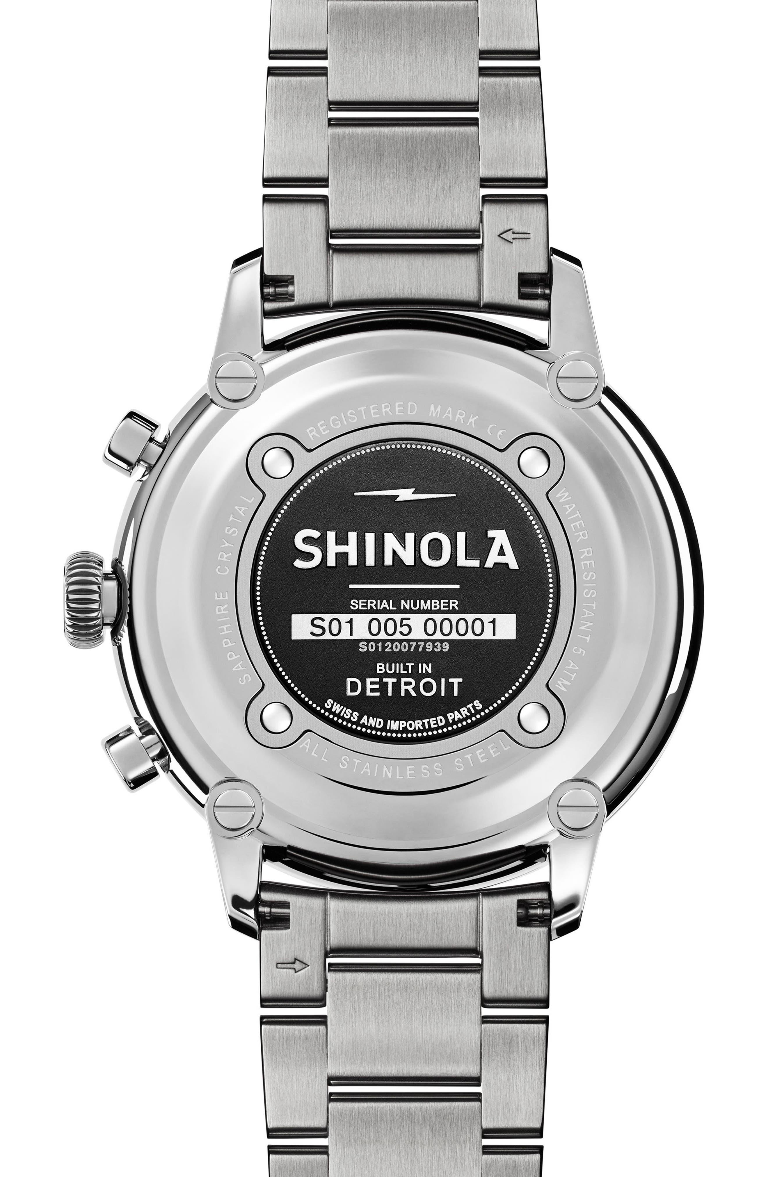 Bedrock Chronograph Bracelet Watch, 47mm,                             Alternate thumbnail 4, color,                             Silver