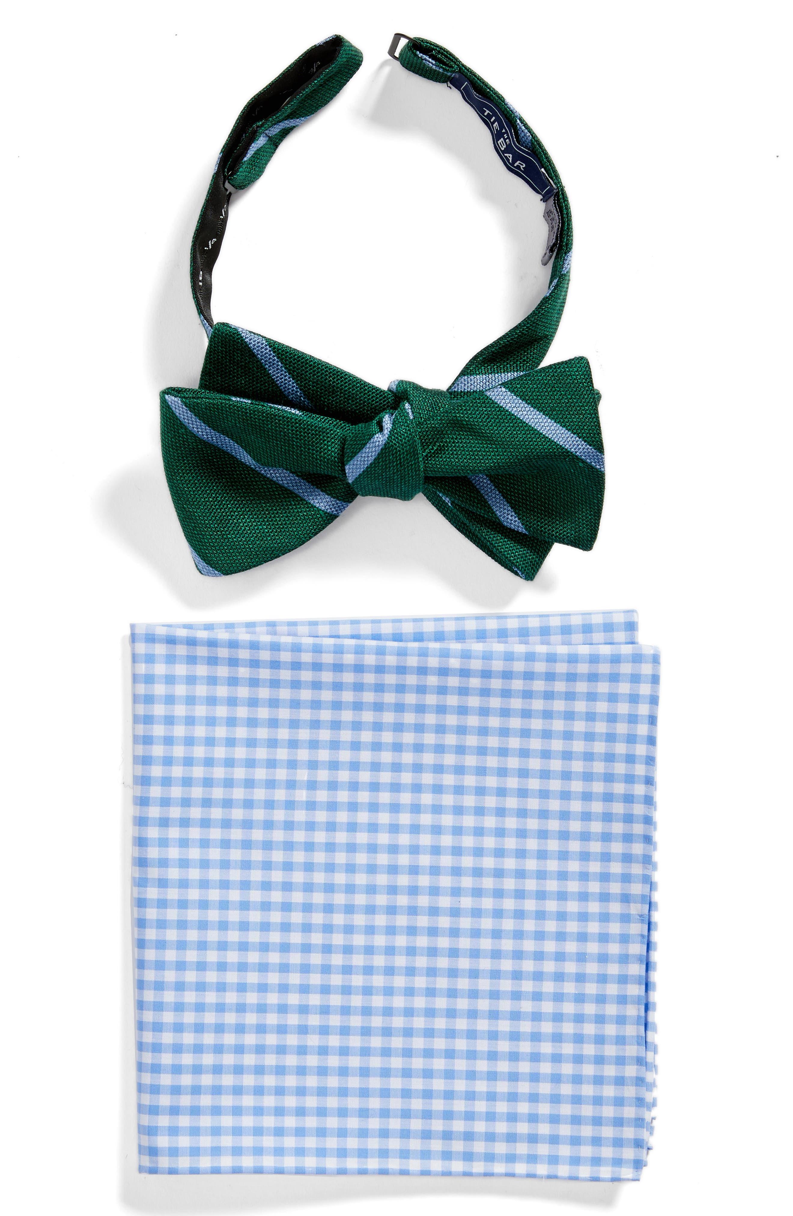Spring Break Bow Tie & Pocket Square Set,                         Main,                         color, Hunter Green
