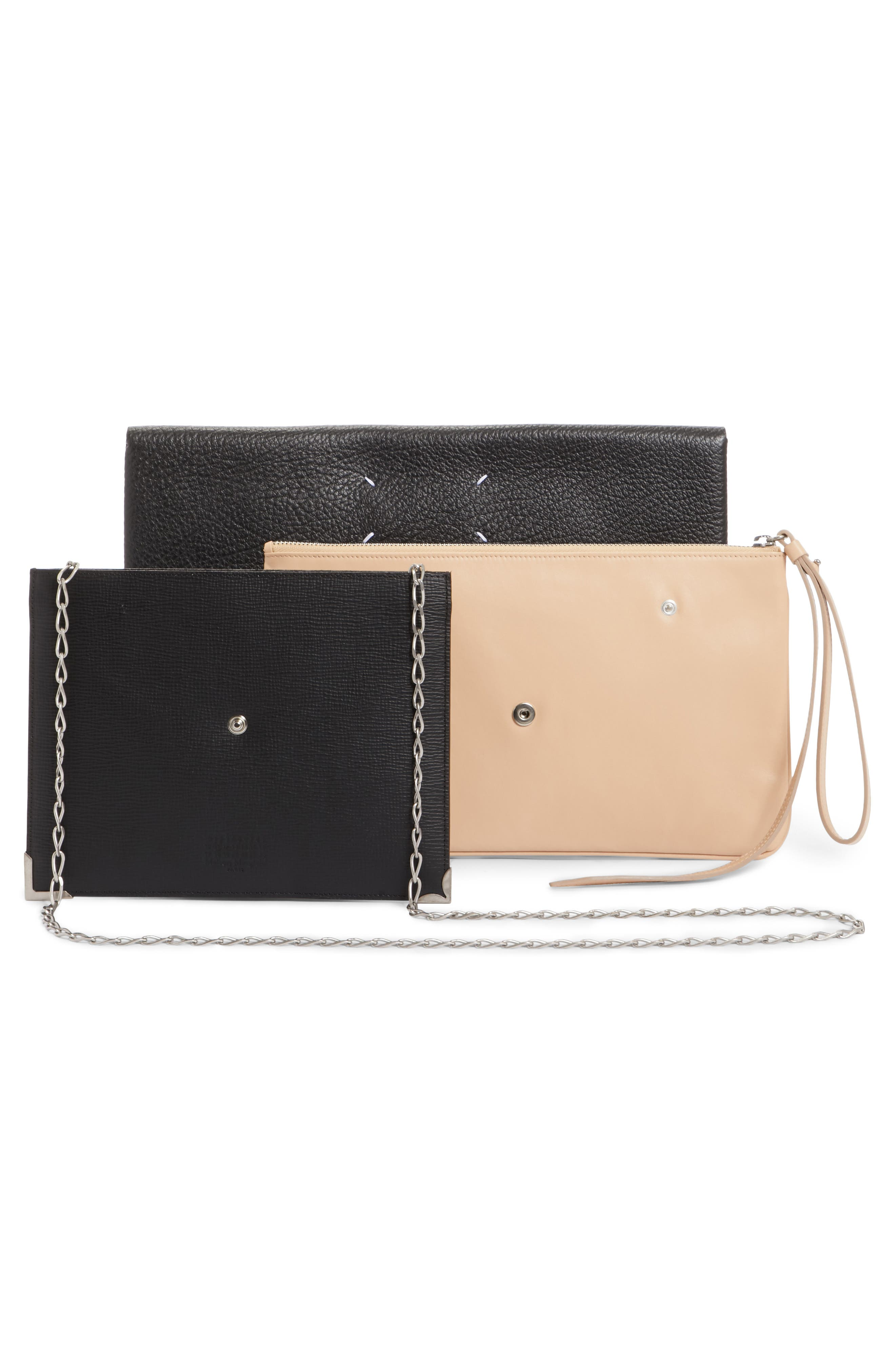 Three-in-One Stacked Leather Pouches,                             Alternate thumbnail 4, color,                             Black Nude Black