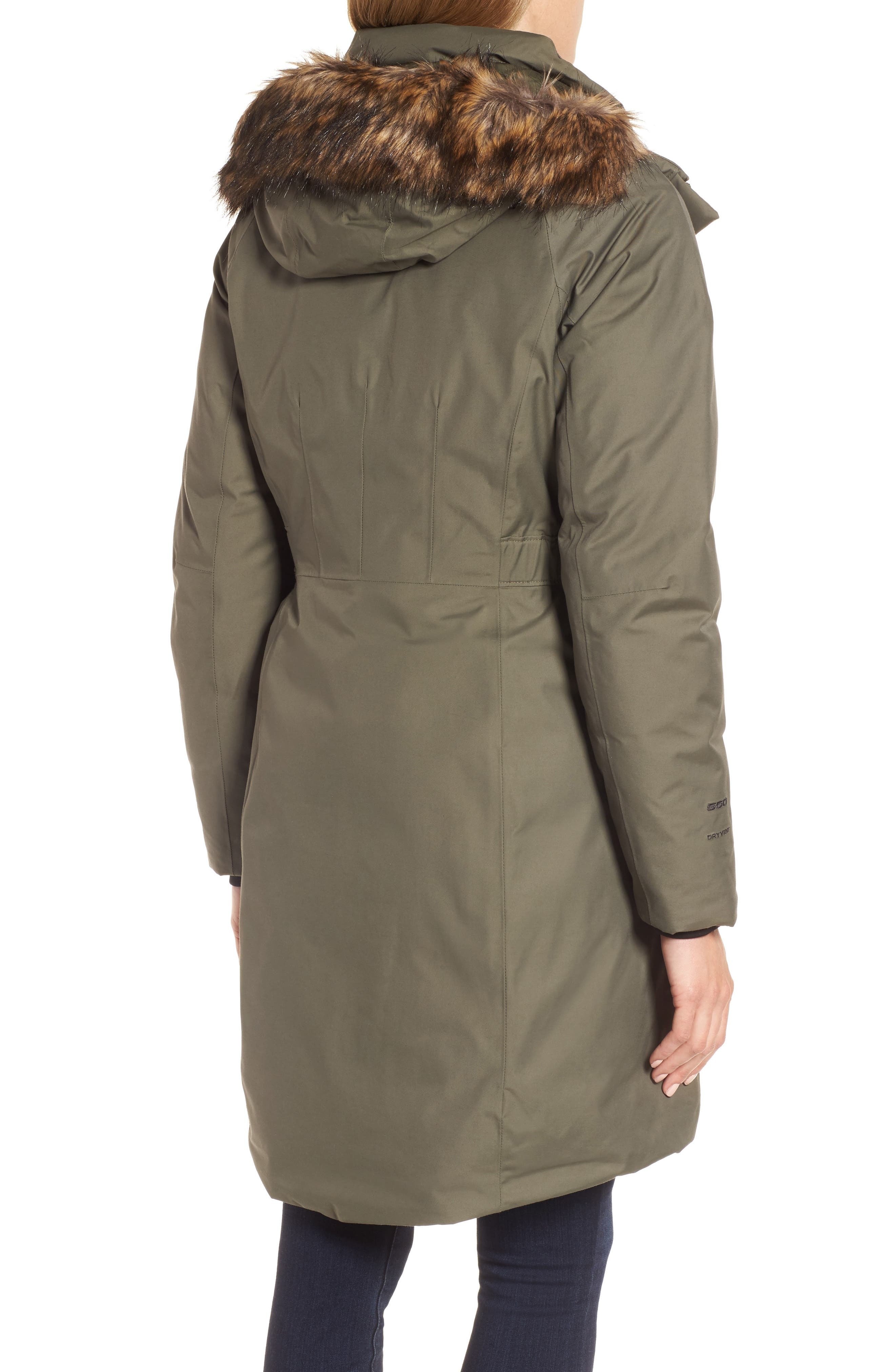 Arctic II Waterproof 550-Fill-Power Down Parka with Faux Fur Trim,                             Alternate thumbnail 2, color,                             New Taupe Green