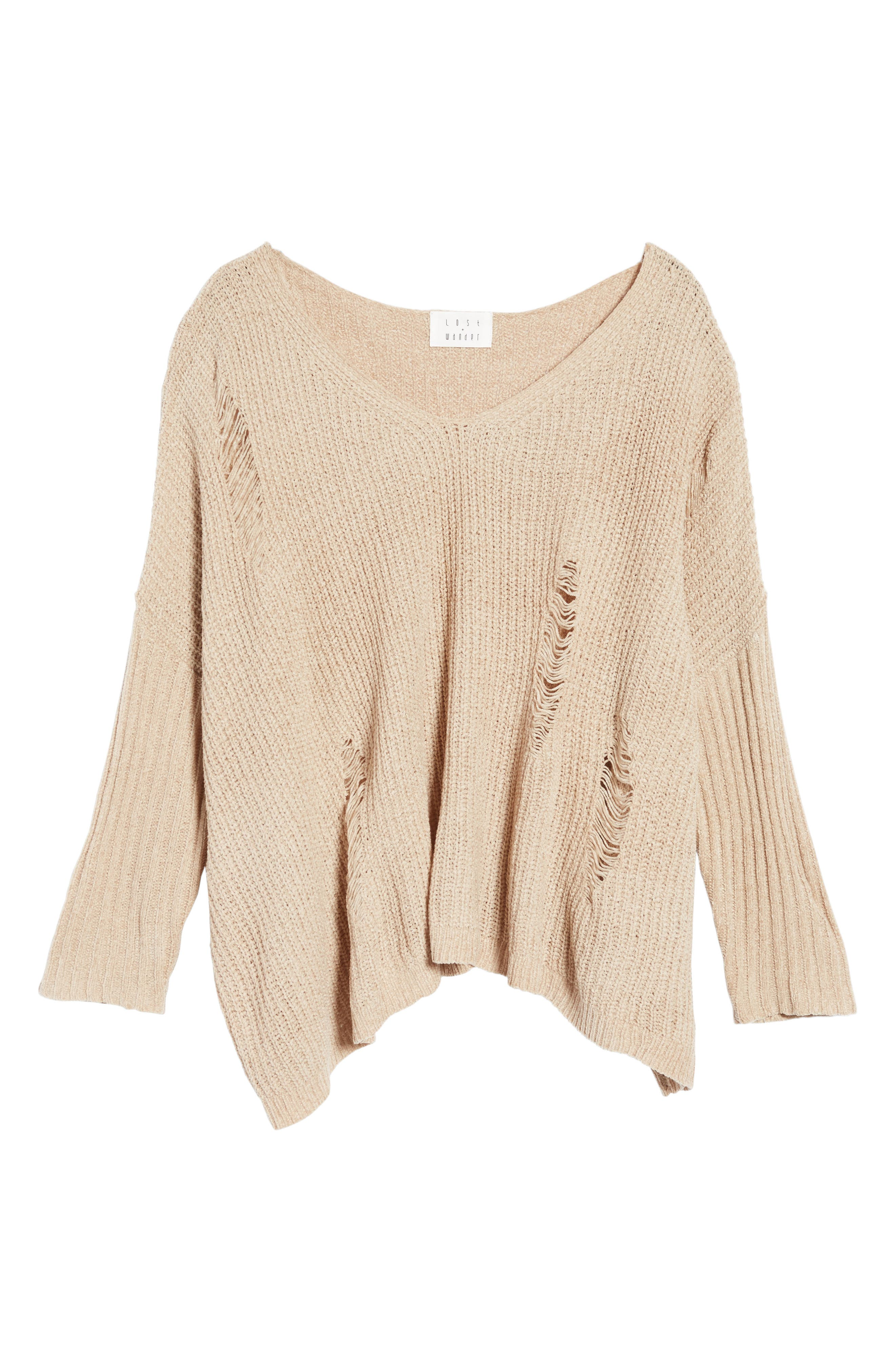 Lily Rose Distressed Sweater,                             Alternate thumbnail 6, color,                             Stone