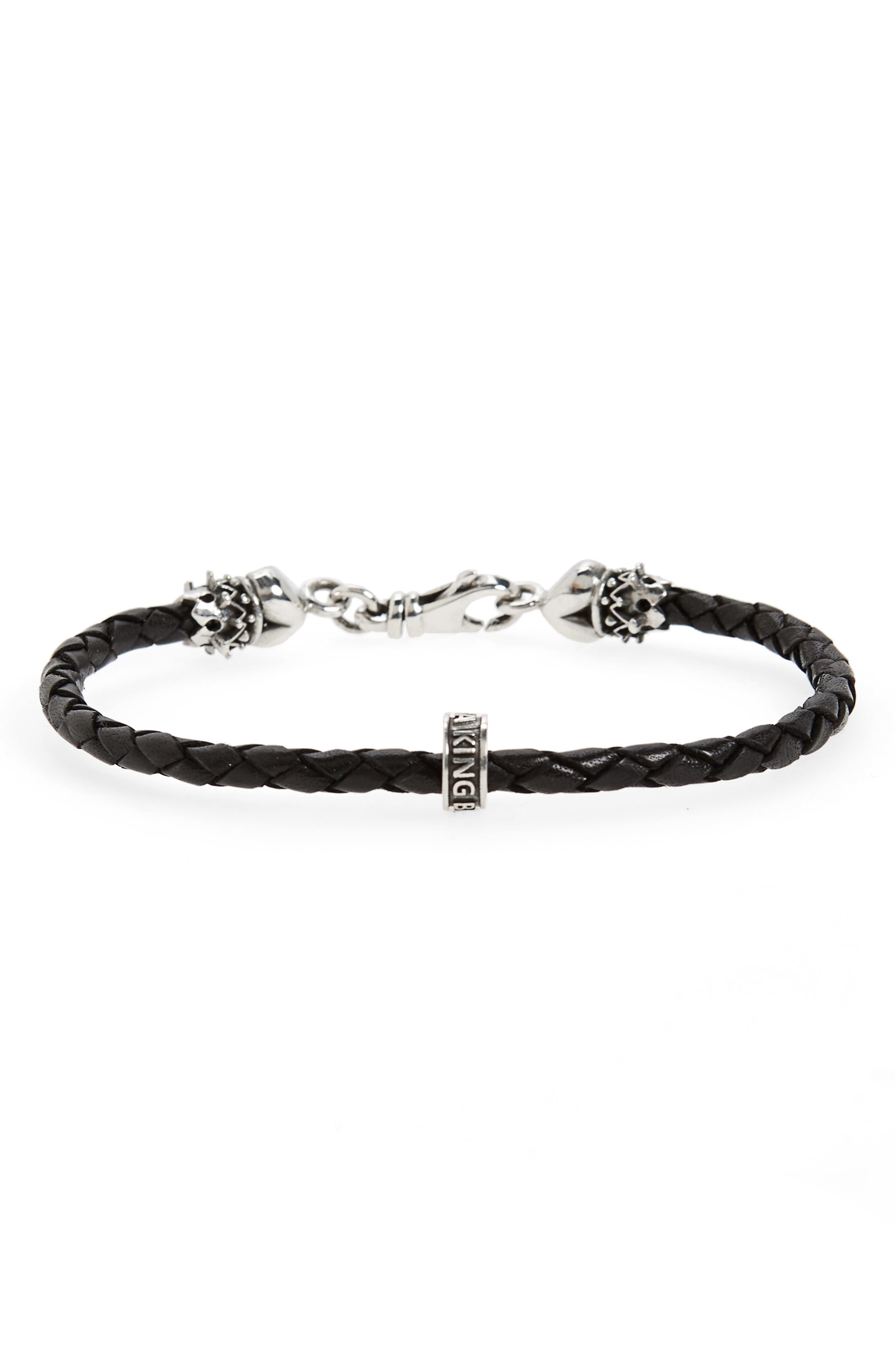 Braided Leather Bracelet,                         Main,                         color, Silver/ Black