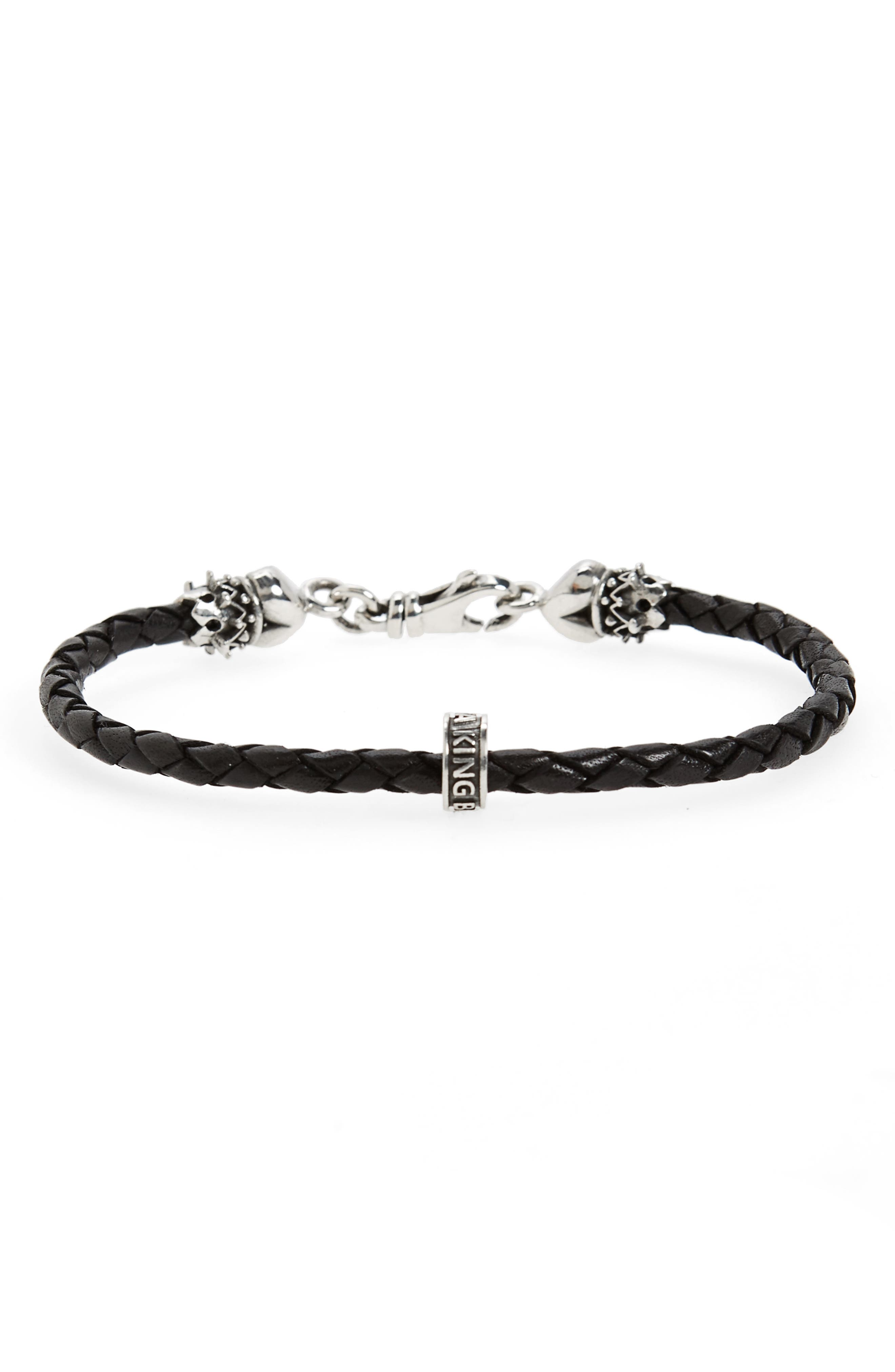 Braided Leather Bracelet,                         Main,                         color, Silver/ Black