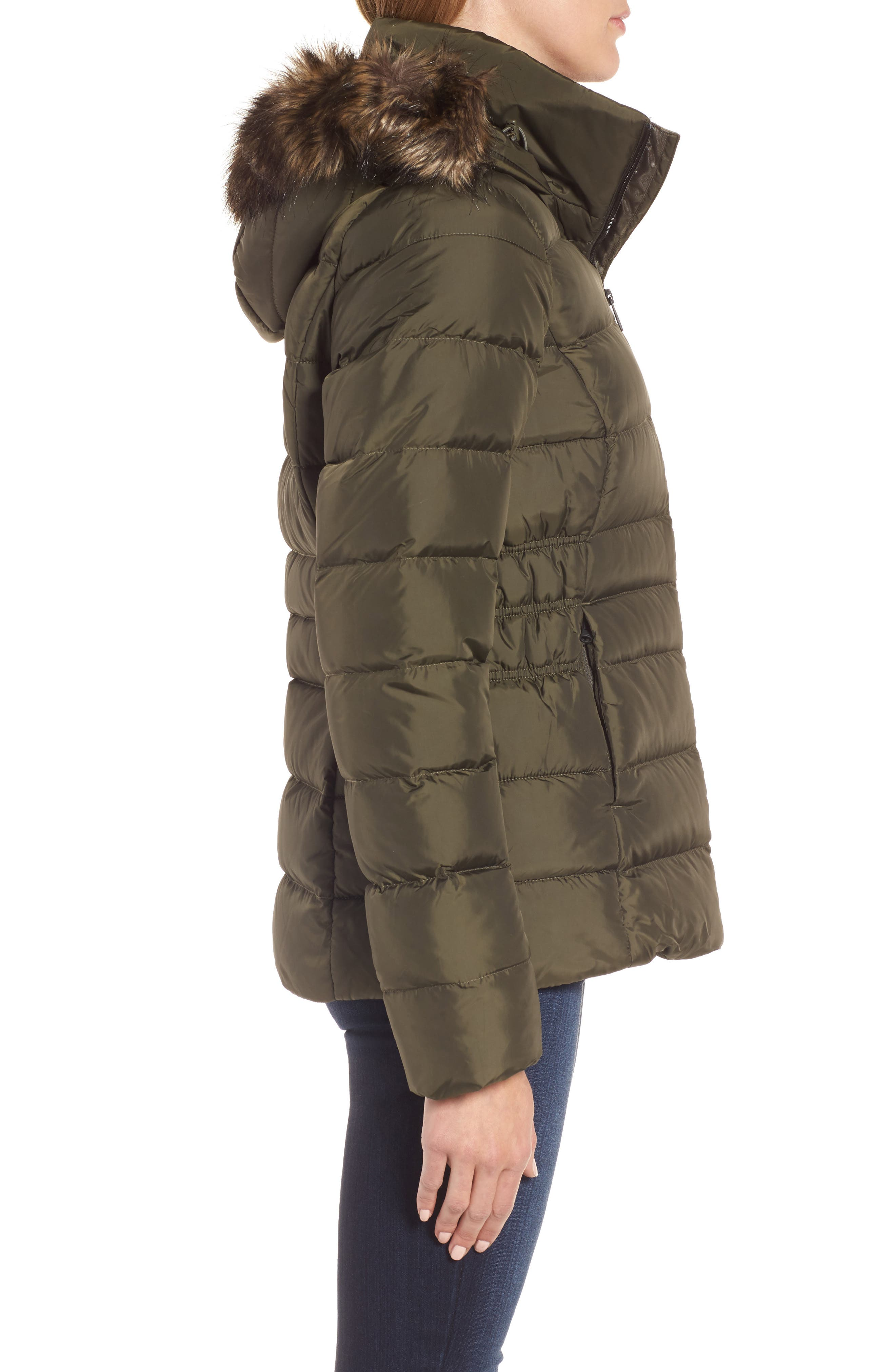 Gotham II Hooded Water Resistant 550-Fill-Power Down Jacket with Faux Fur Trim,                             Alternate thumbnail 3, color,                             New Taupe Green